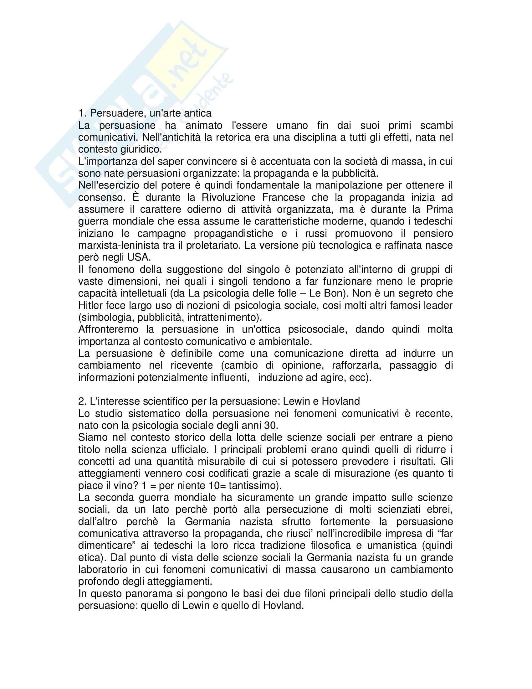 Riassunto esame Semiotica, prof. Pisanty, libro consigliato Comunicazione e persuasione, Cavazza