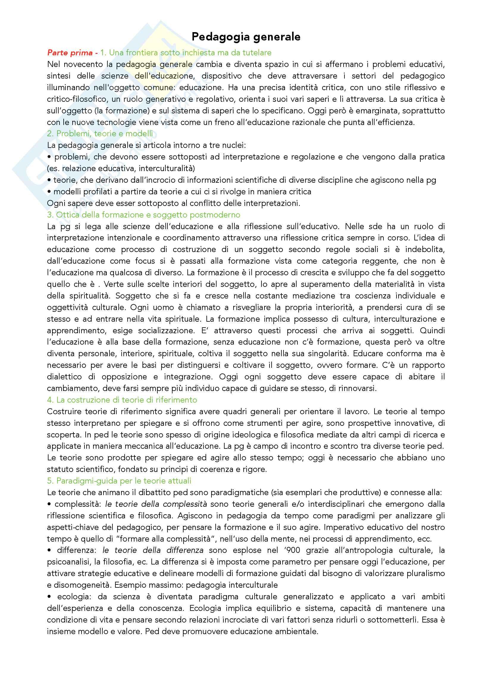 Riassunto esame Pedagogia Generale, prof. Madrussan, libro consigliato Pedagogia Generale, Cambi