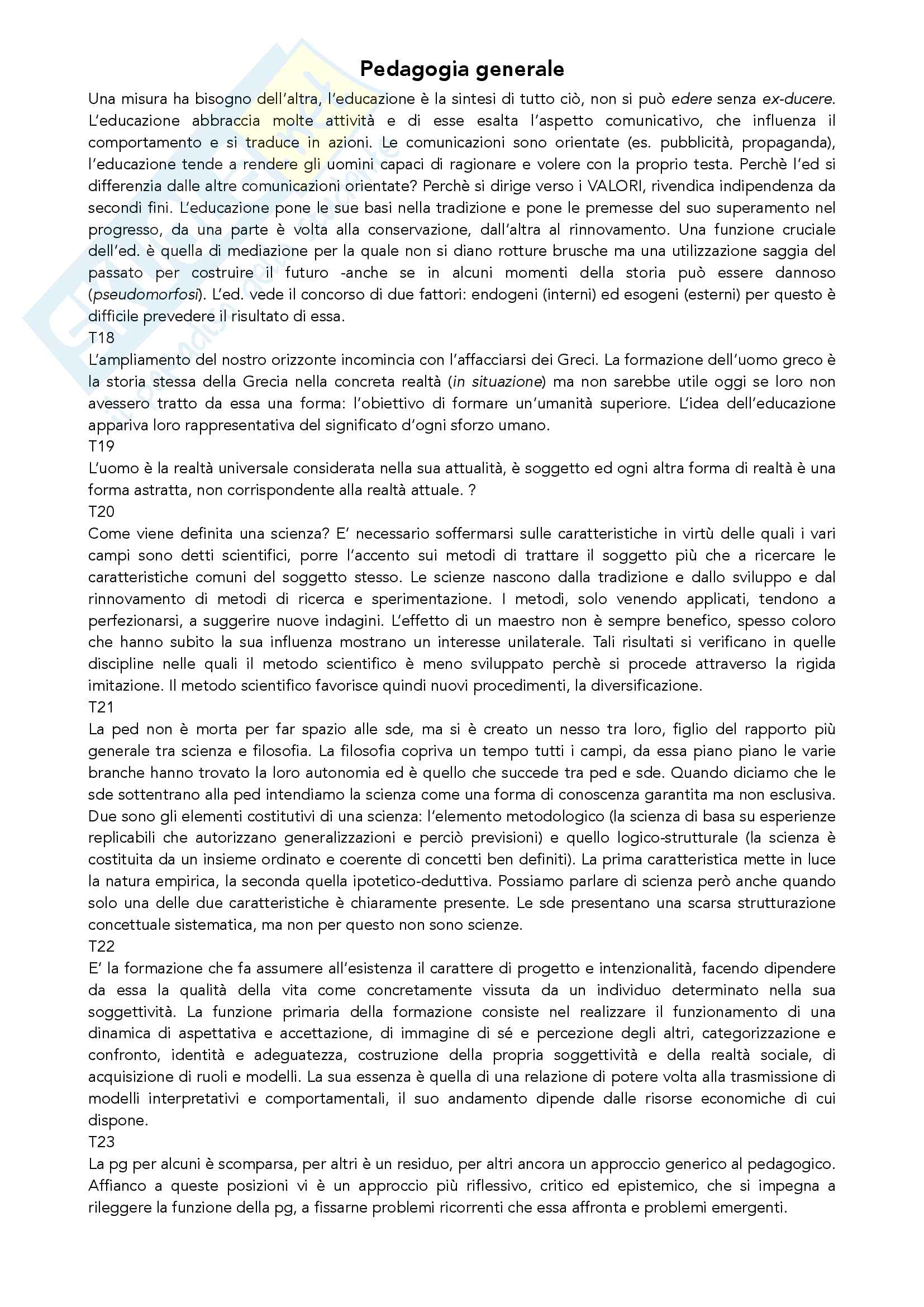 Riassunto esame Pedagogia Generale, prof. Madrussan, libro consigliato Pedagogia Generale, Cambi Pag. 16