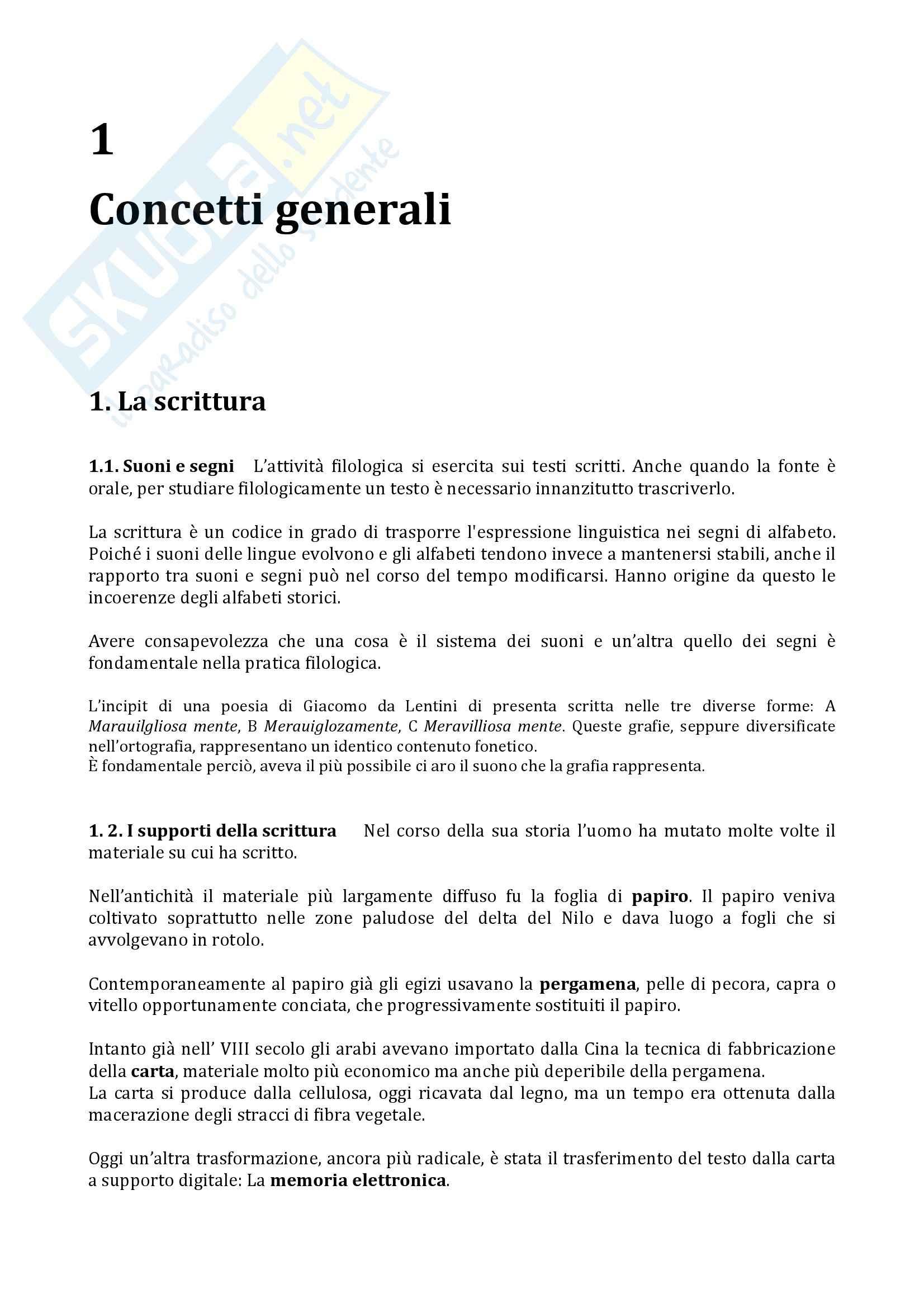 Riassunto esame Filologia italiana, prof. Arbizzoni, libro consigliato Filologia della letteratura italiana, Stoppelli