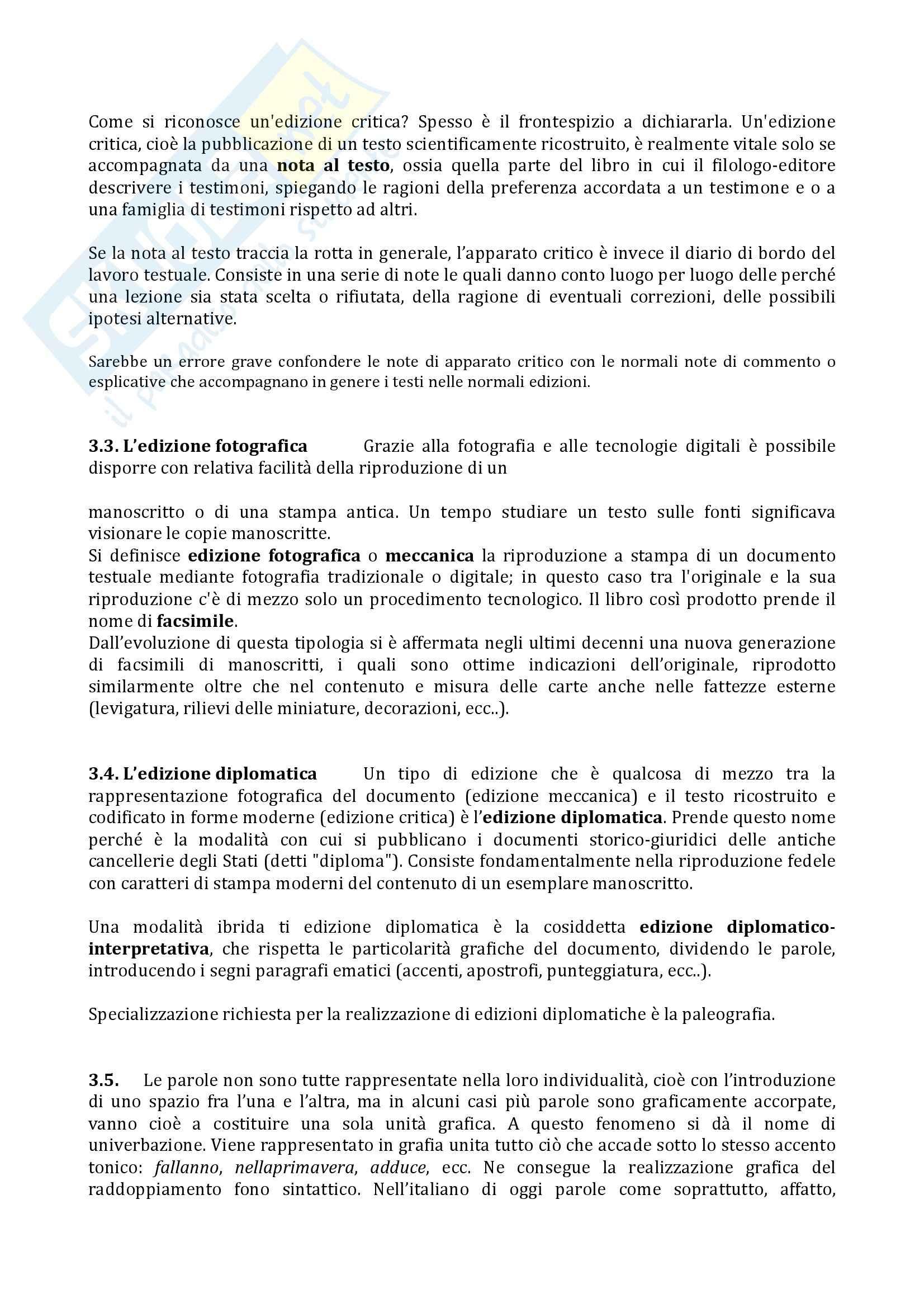 Riassunto esame Filologia italiana, prof. Arbizzoni, libro consigliato Filologia della letteratura italiana, Stoppelli Pag. 6