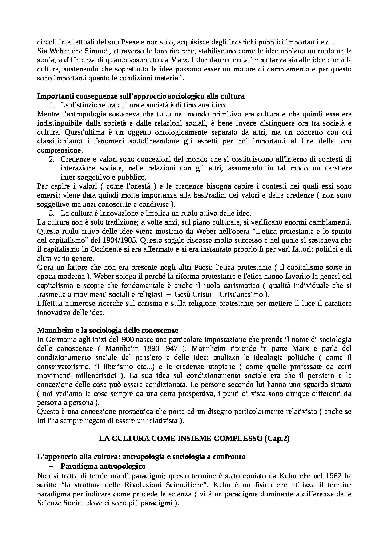 Riassunto esame Istituzioni di sociologia, libro adottato Sociologia dei processi culturali, Sciolla Pag. 6