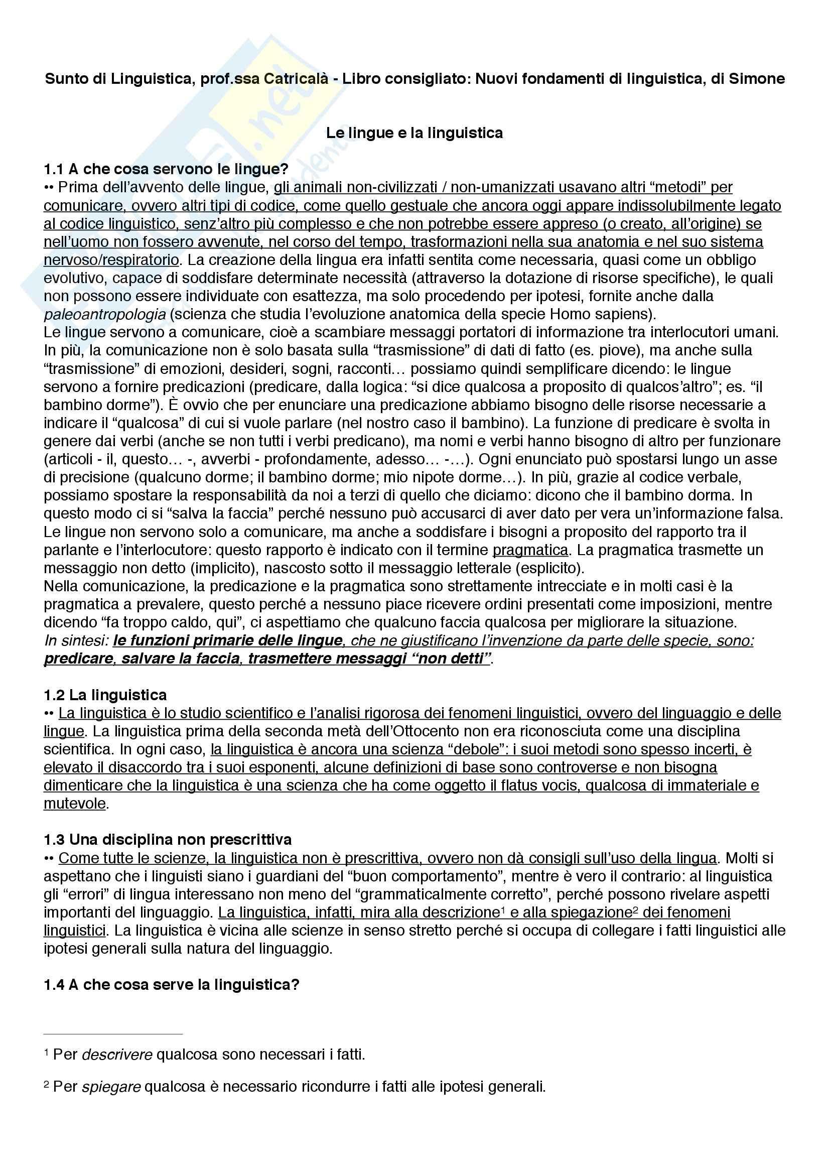 Riassunto esame Linguistica, prof. Catricalà, libro consigliato Nuovi fondamenti di linguistica, Simone