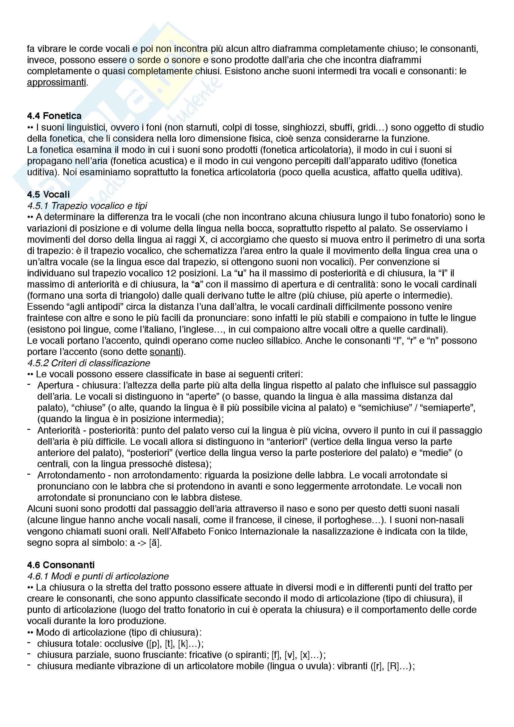 Riassunto esame Linguistica, prof. Catricalà, libro consigliato Nuovi fondamenti di linguistica, Simone Pag. 11