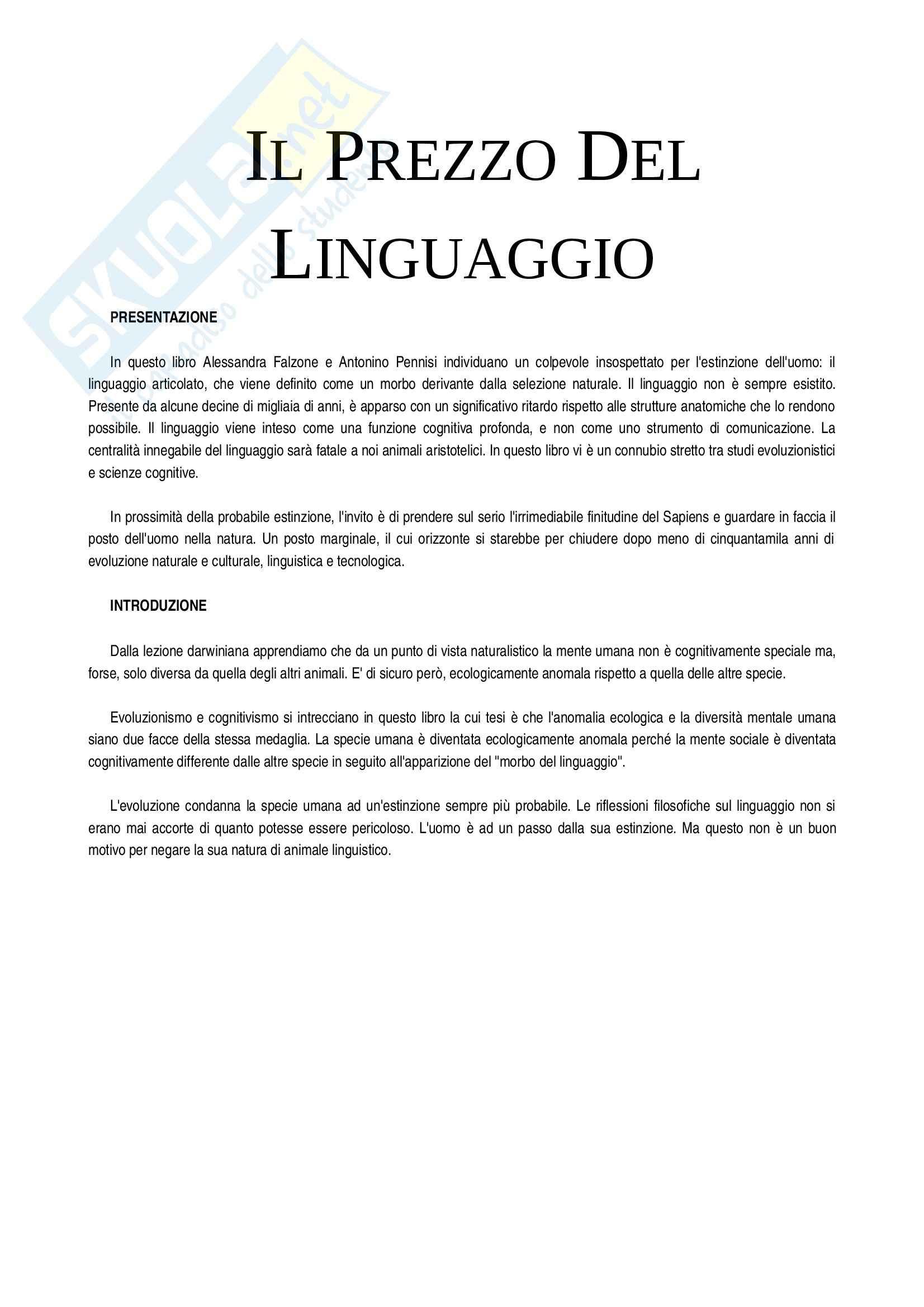 Riassunto esame Filosofia, prof Pennisi, libro consigliato Il Prezzo Del Linguaggio, Pennisi