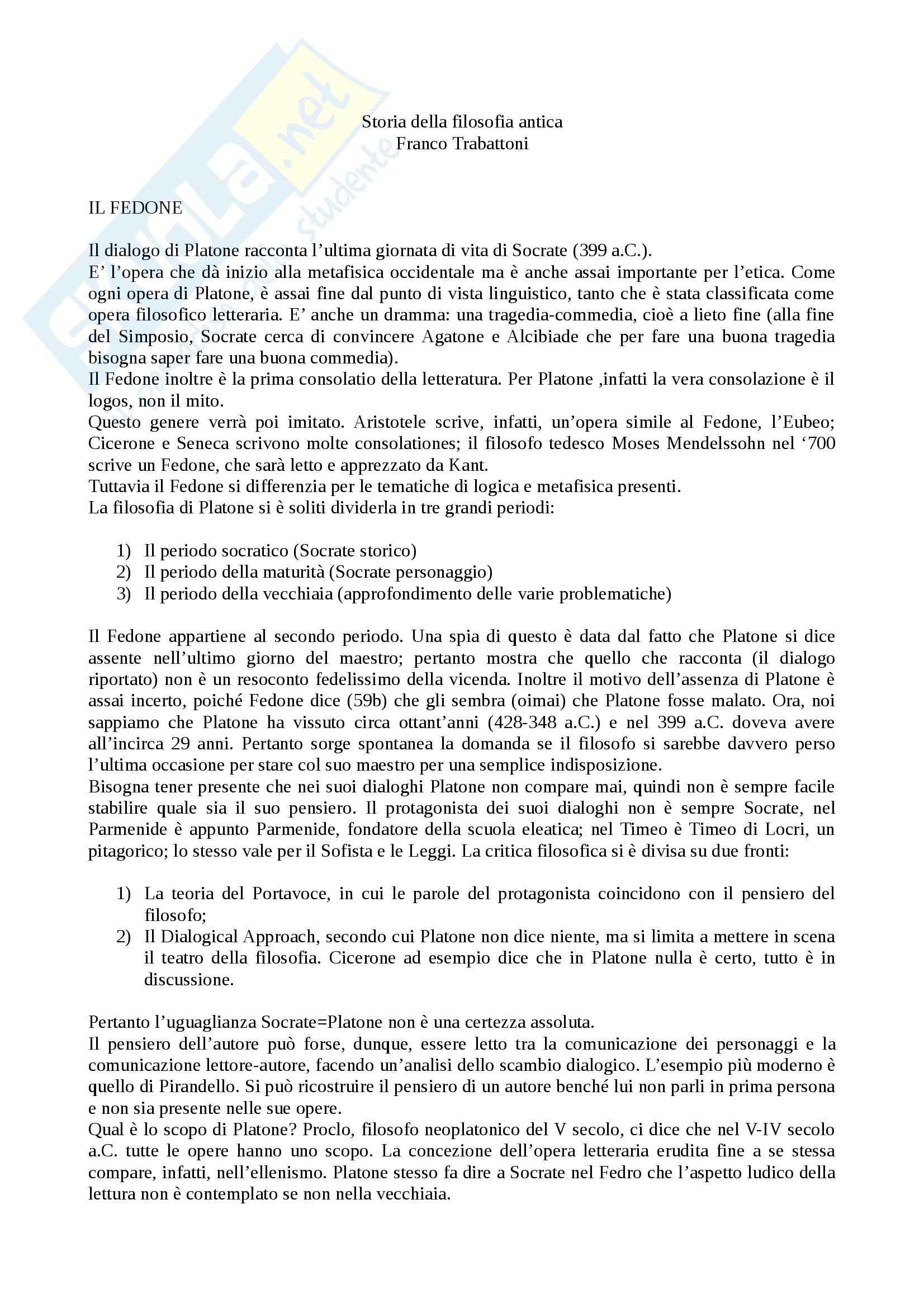 Fedone, Storia della filosofia antica, appunti sul testo e generali