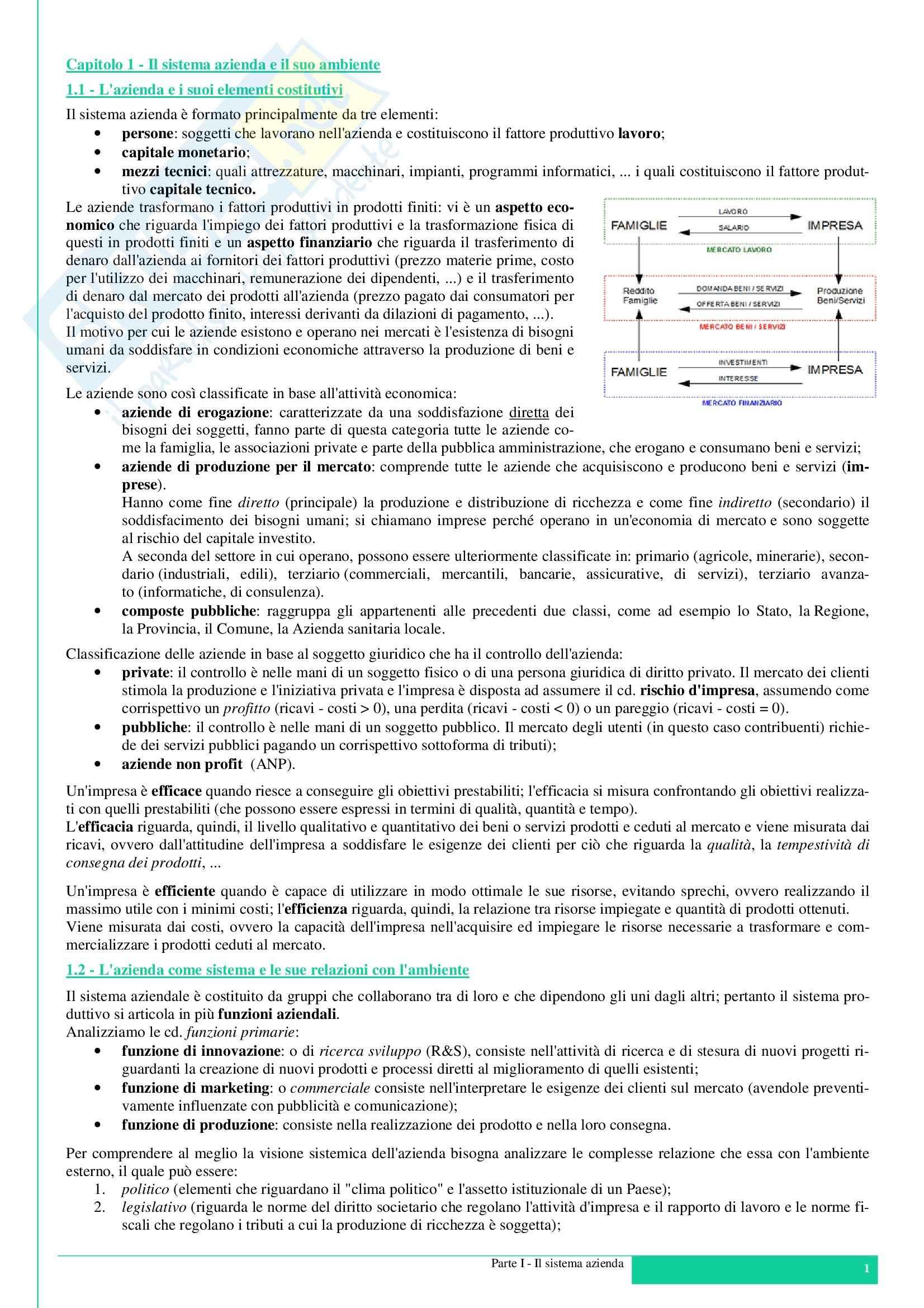 Riassunto esame degli Appunti di Economia aziendale, prof. Manzi