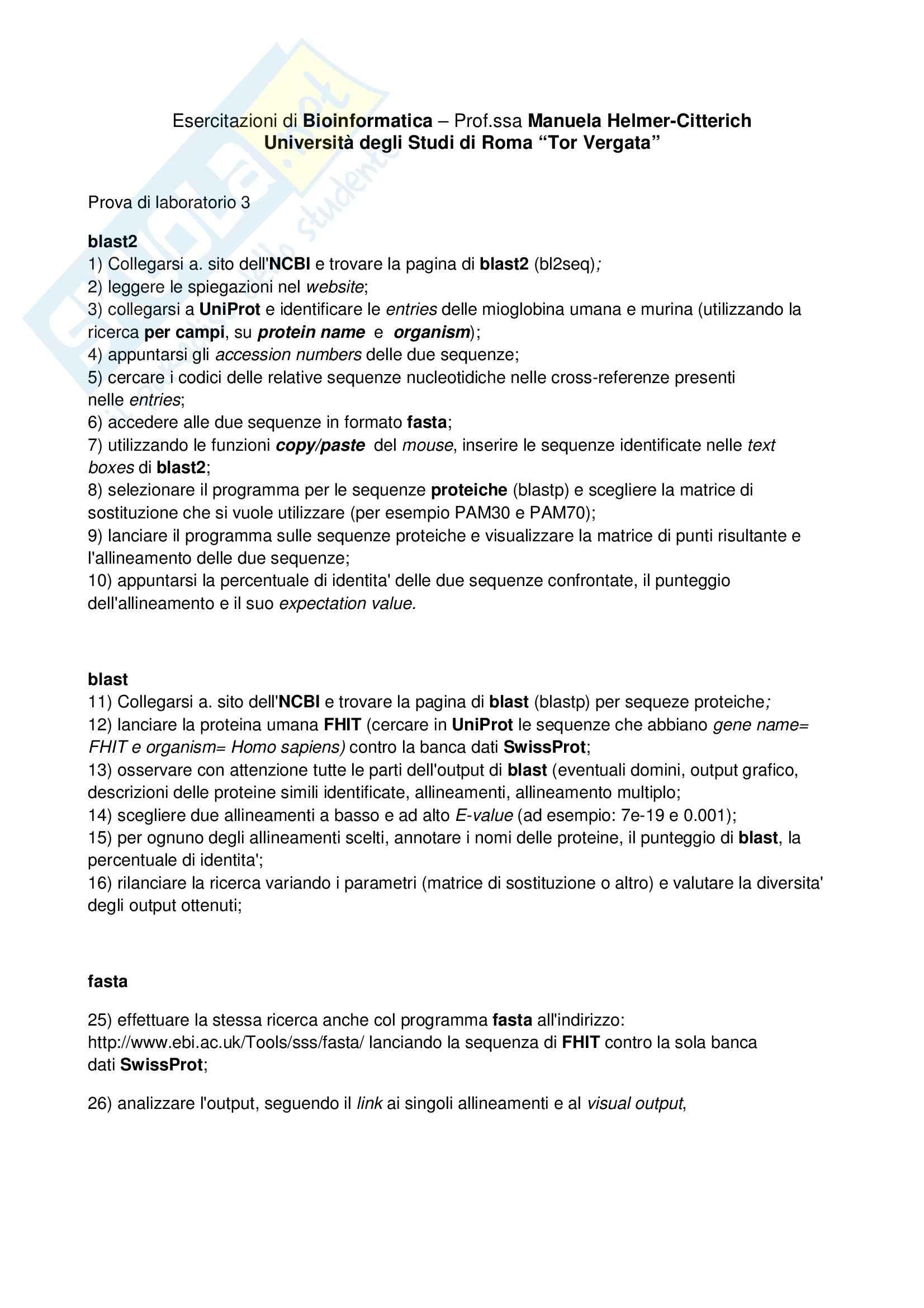 Bioinformatica - Blast e Fasta, Esercitazioni di laboratorio