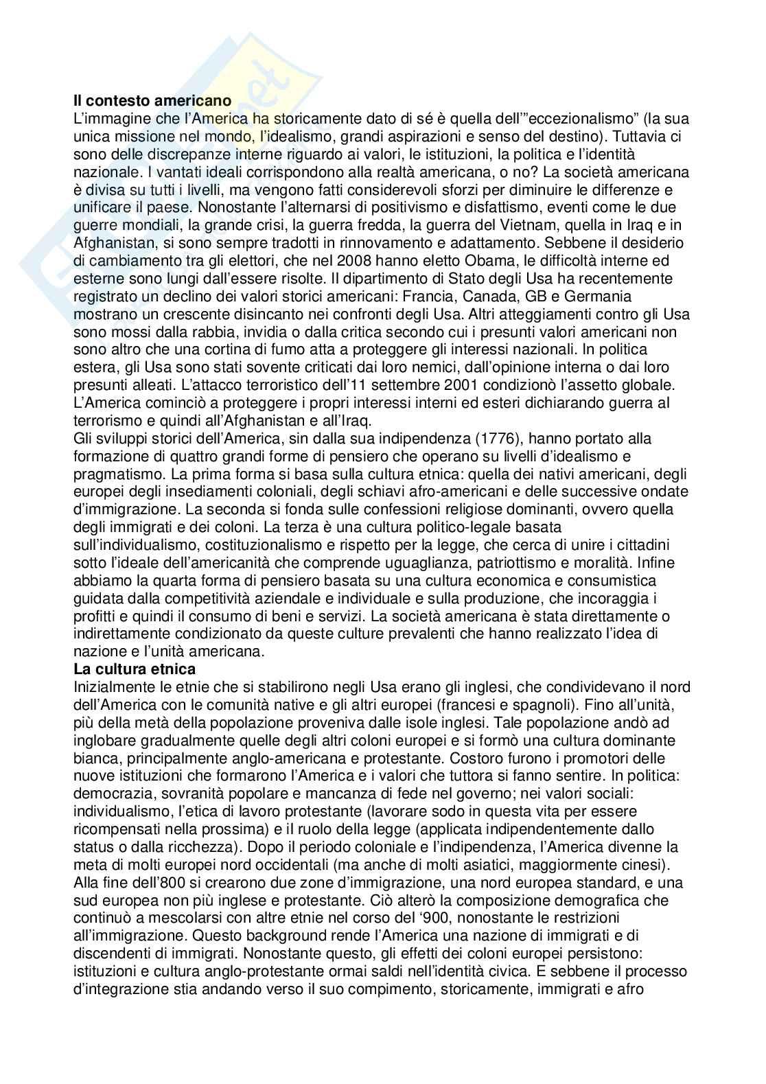 Riassunto esame Cultura dei Paesi anglofoni, prof. Vizzaccaro, libro consigliato American Civilization: An Introduction, Mauk, Oakland