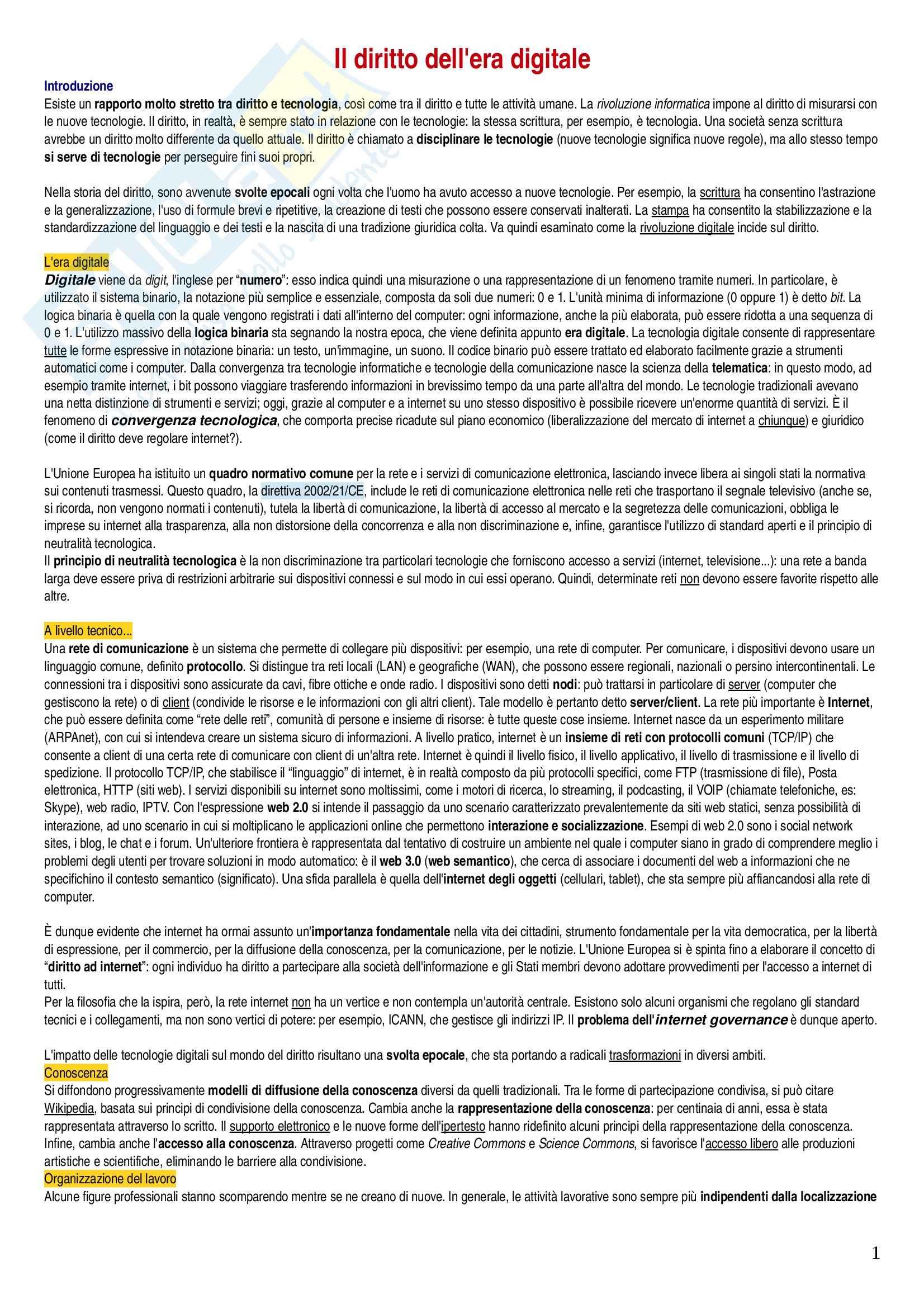 Riassunto esame Diritto Digitale, prof. Di Lascio, libro consigliato Il Diritto dell'Era Digitale, Pascuzzi