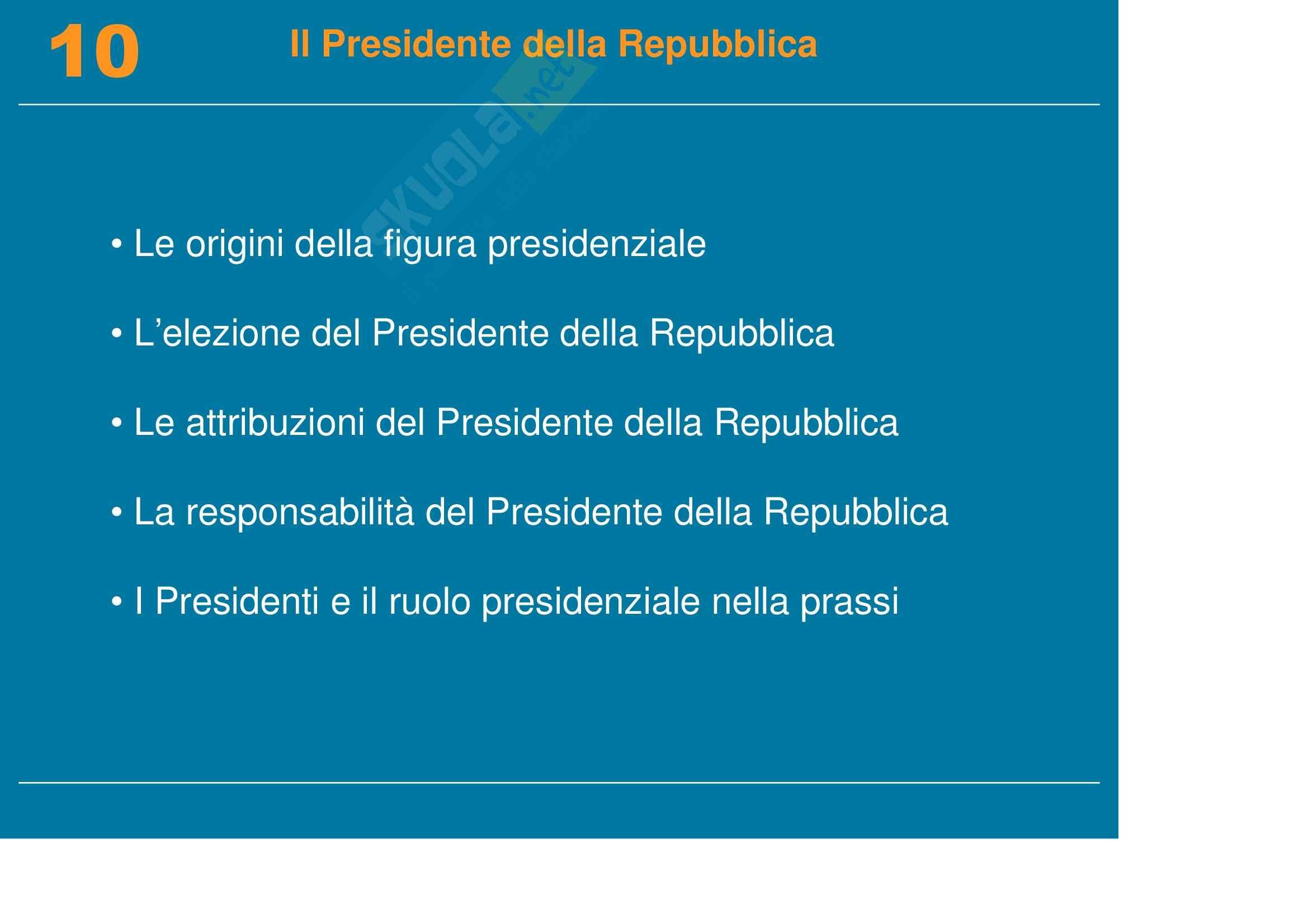 Diritto pubblico, dell'informazione e della comunicazione - il Presidente della Repubblica