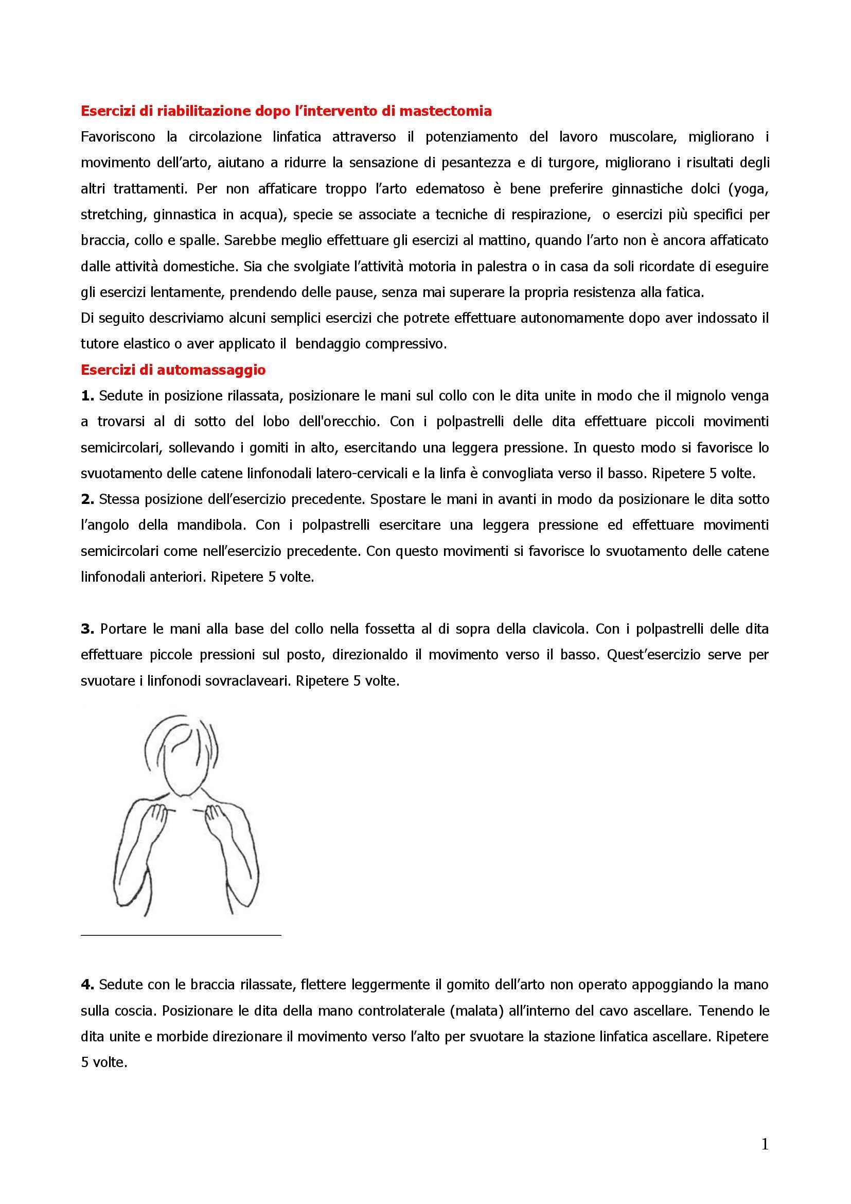 riabilitazione postoperatoria mastecomia