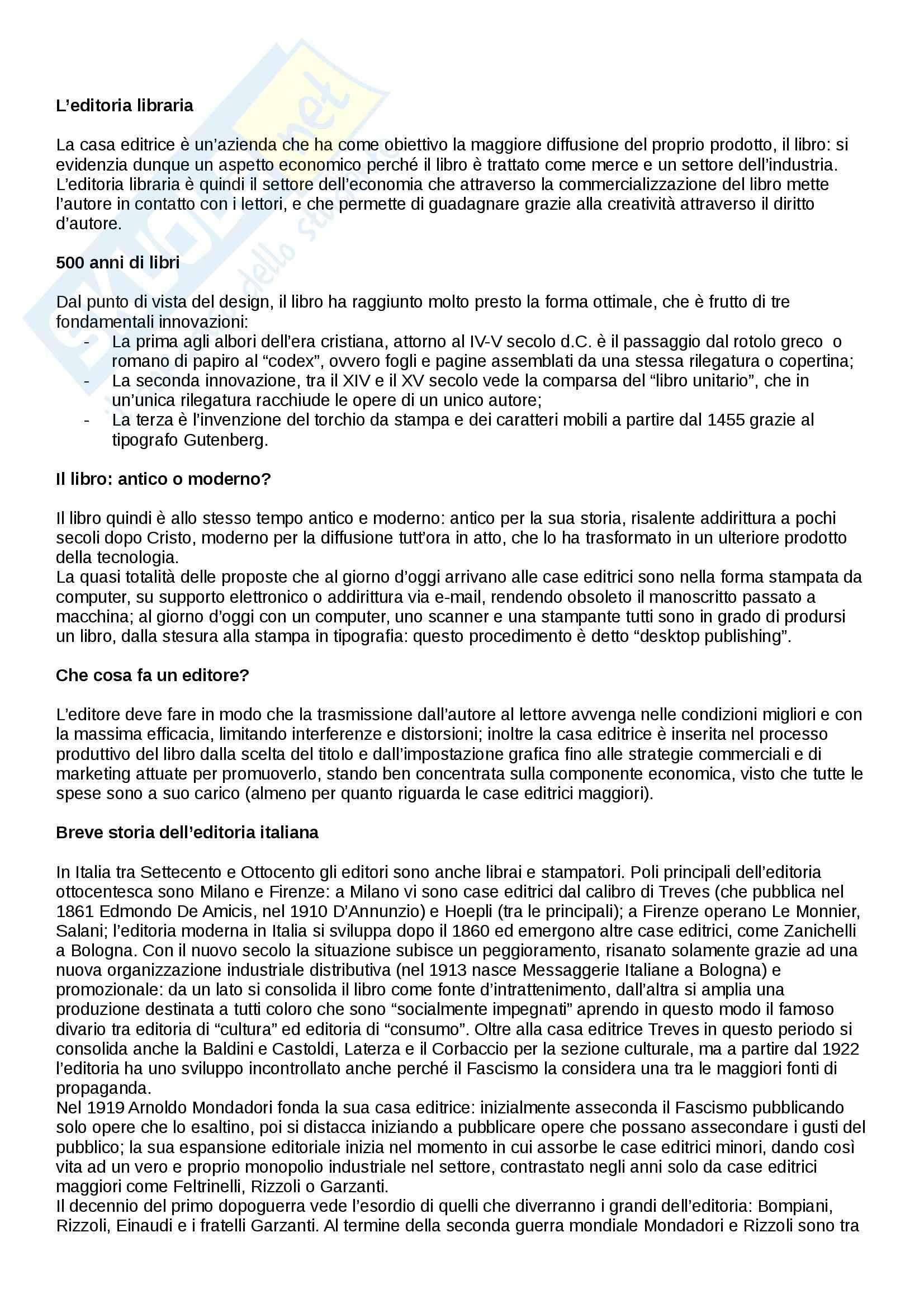 Riassunto esame Editoria libraria, prof. Ponte, libro consigliato ll mistero del libro