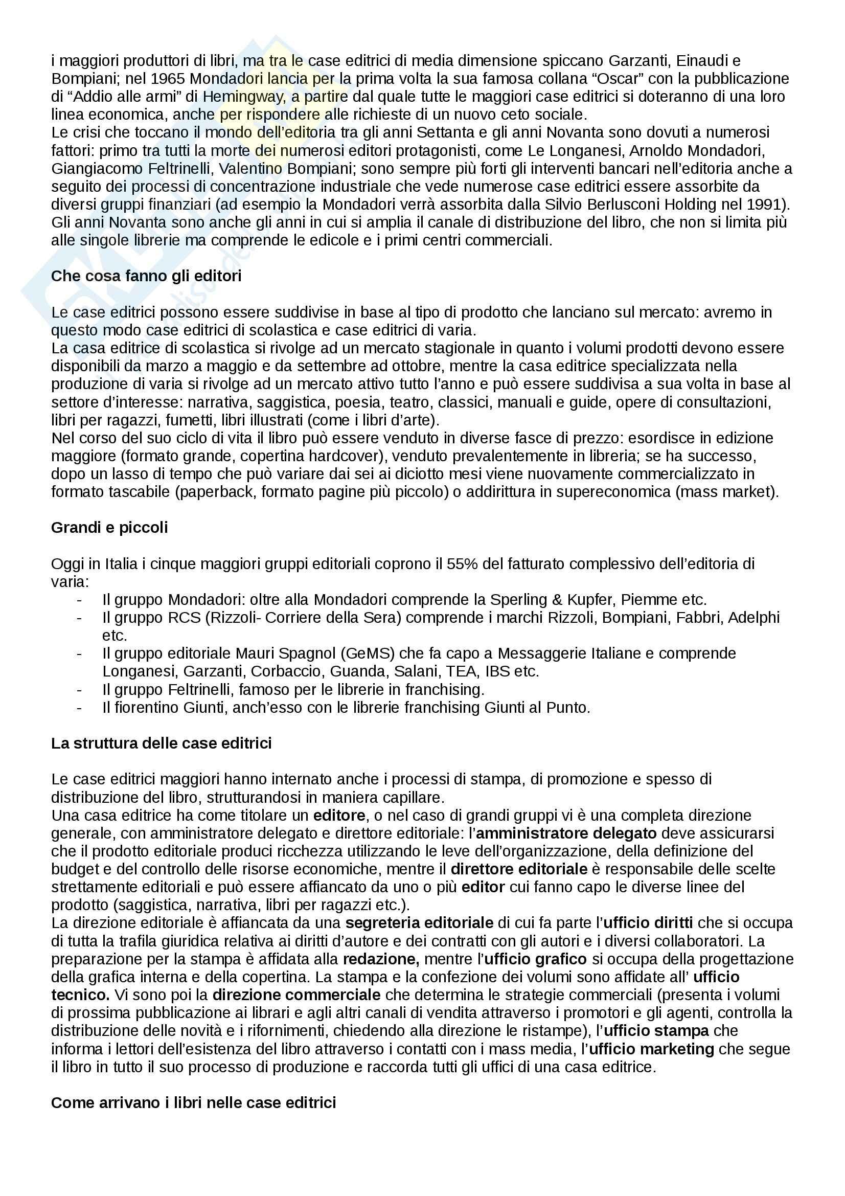 Riassunto esame Editoria libraria, prof. Ponte, libro consigliato ll mistero del libro Pag. 2