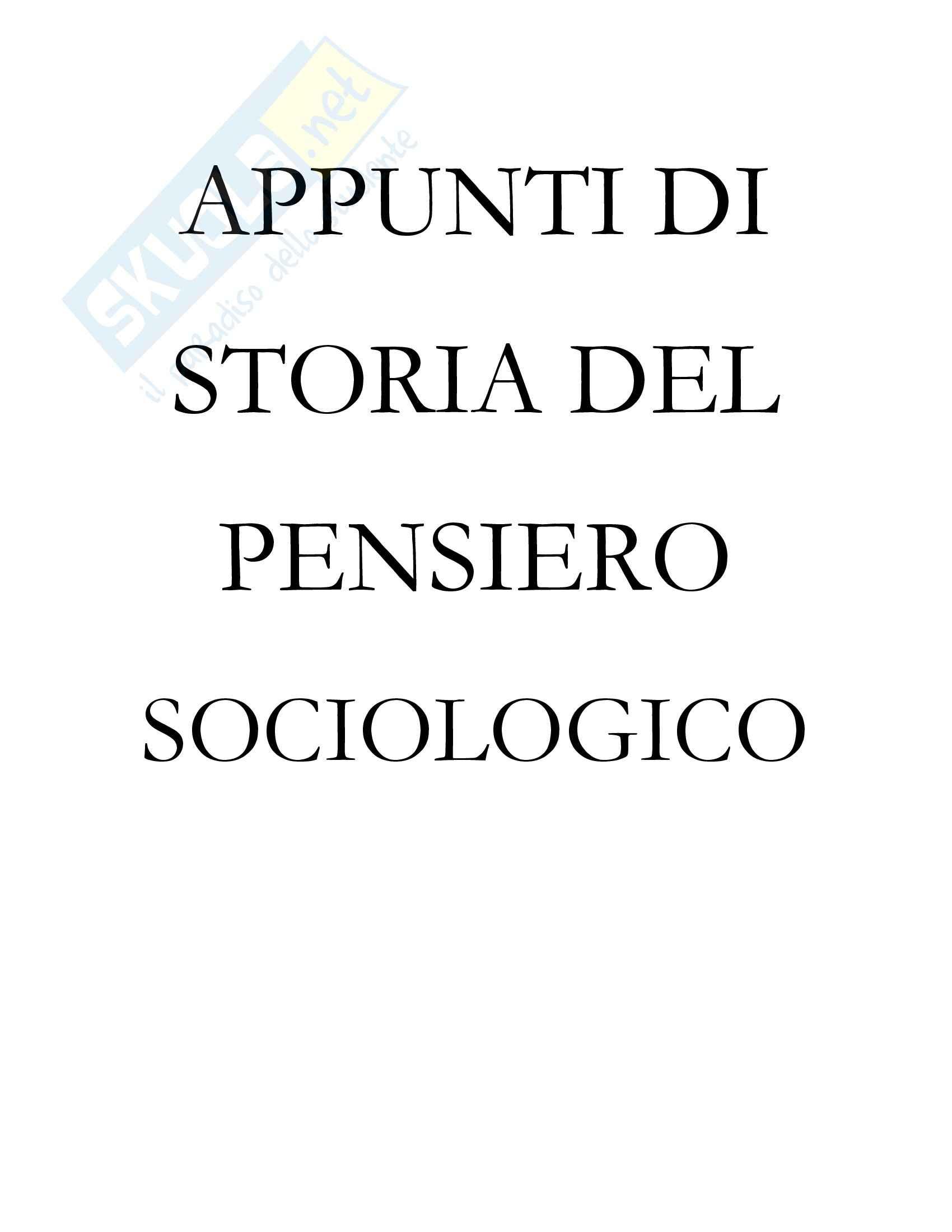 Storia del pensiero sociologico