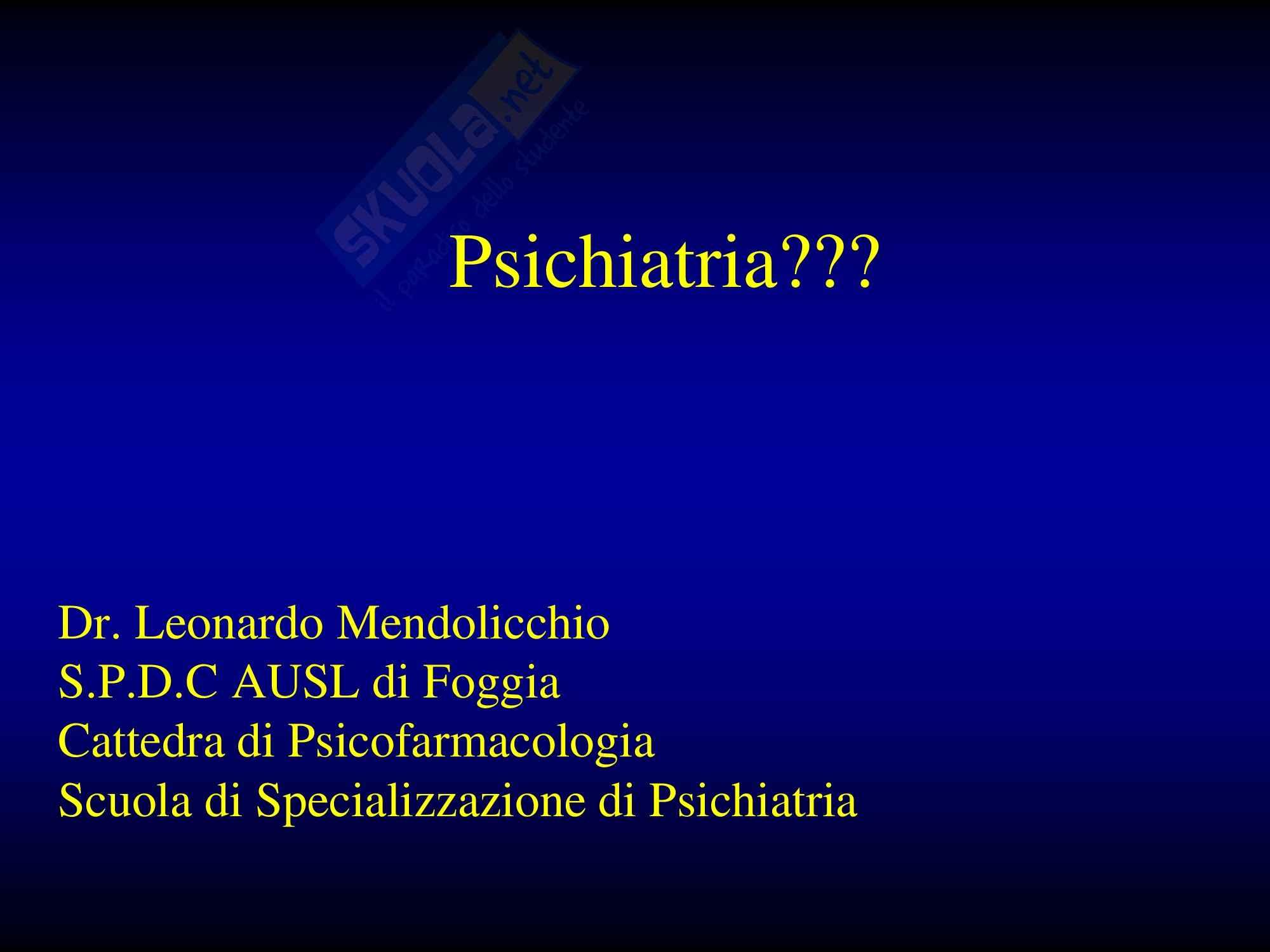 Psichiatria - generalità