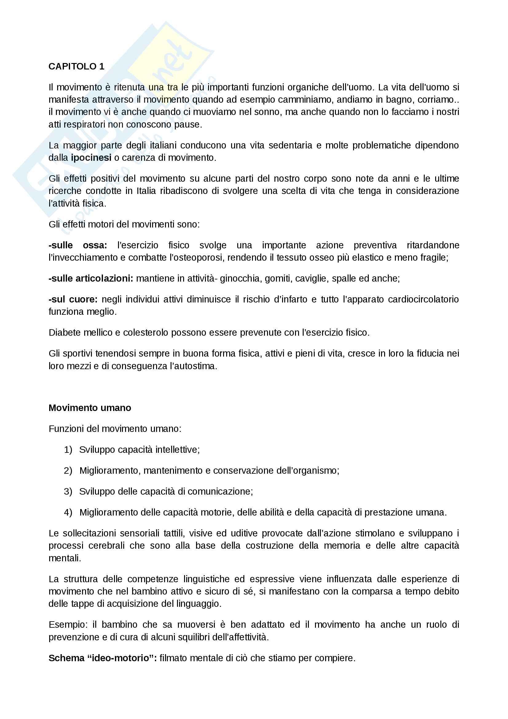 Riassunto Basi attività motoria (28 pag.)