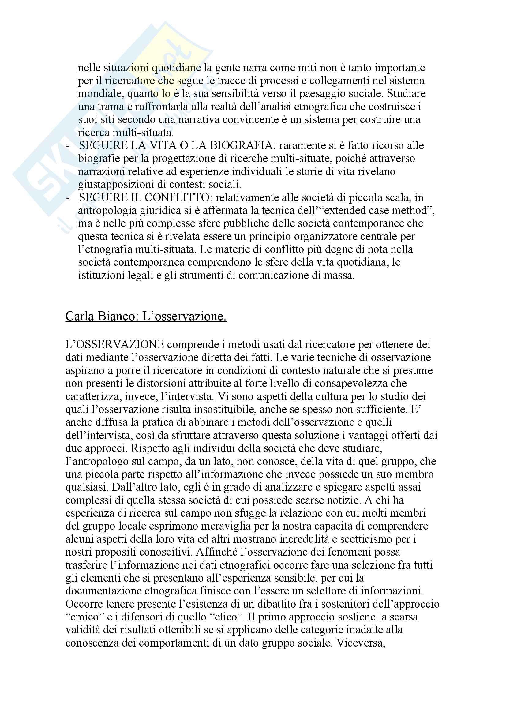 Riassunto esame antropologia culturale, prof. Broccolini, libro consigliato Vivere l'etnografia, Cappelletto Pag. 11