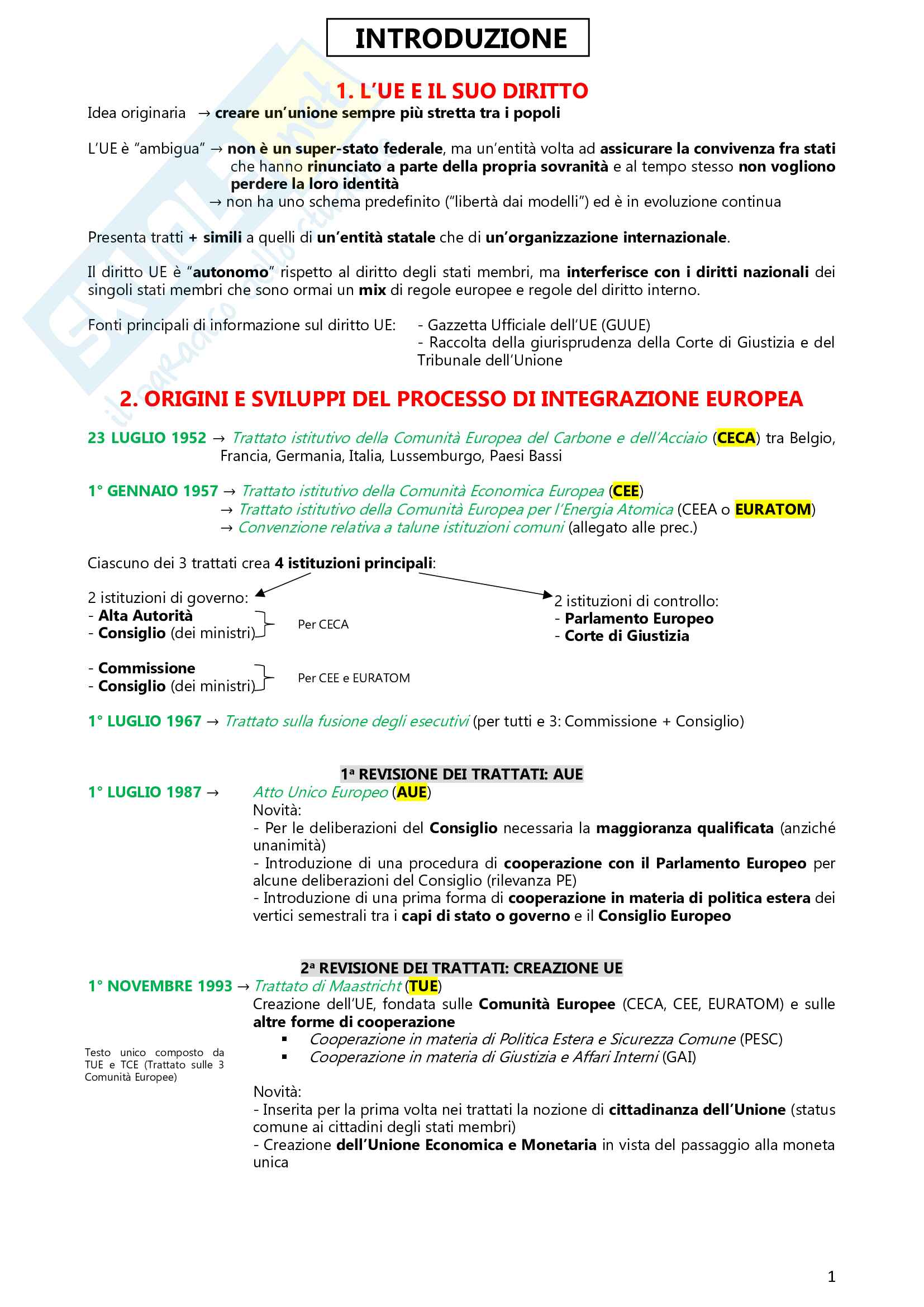Riassunto esame Diritto dell'UE (1° parziale), prof. Persano, libro consigliato Manuale di diritto dell'UE, Tizzano