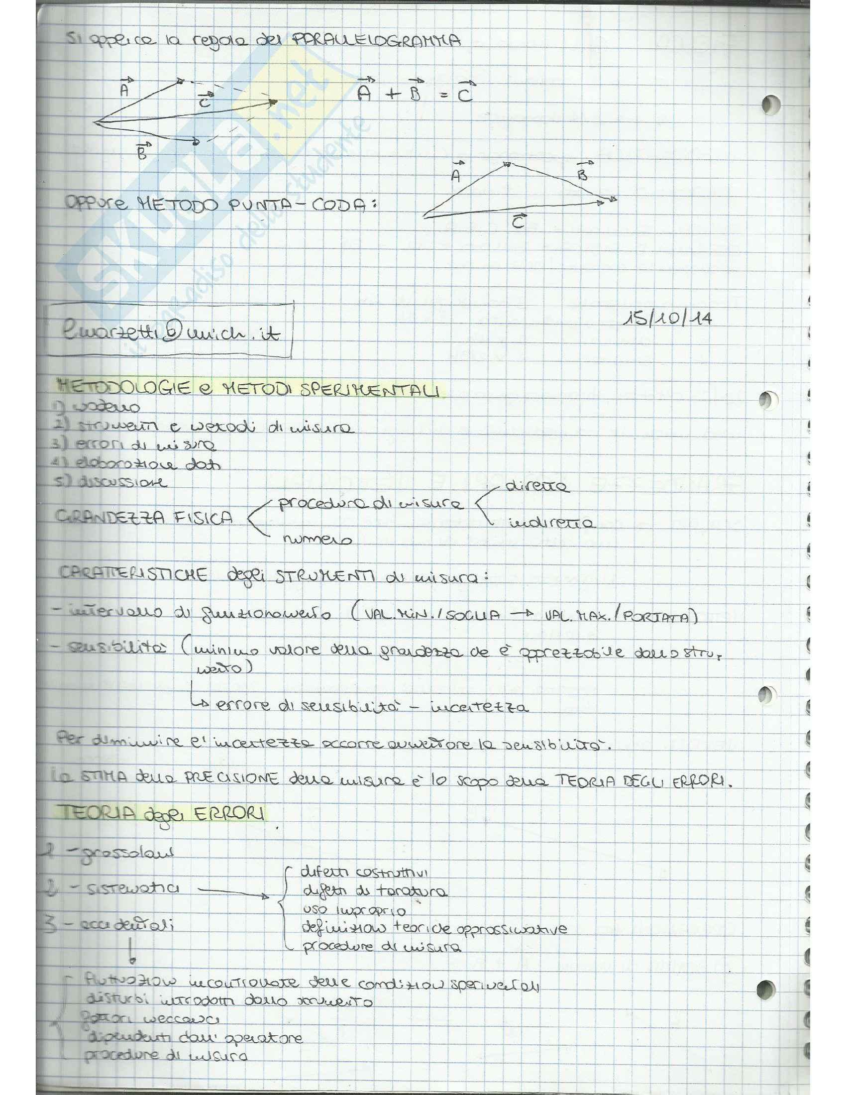 Appunti di Fisica Applicata (cinematica, dinamica, moto circolare, gravitazione, lavoro, quantità di moto, moto rotatorio, equilibrio) Pag. 2