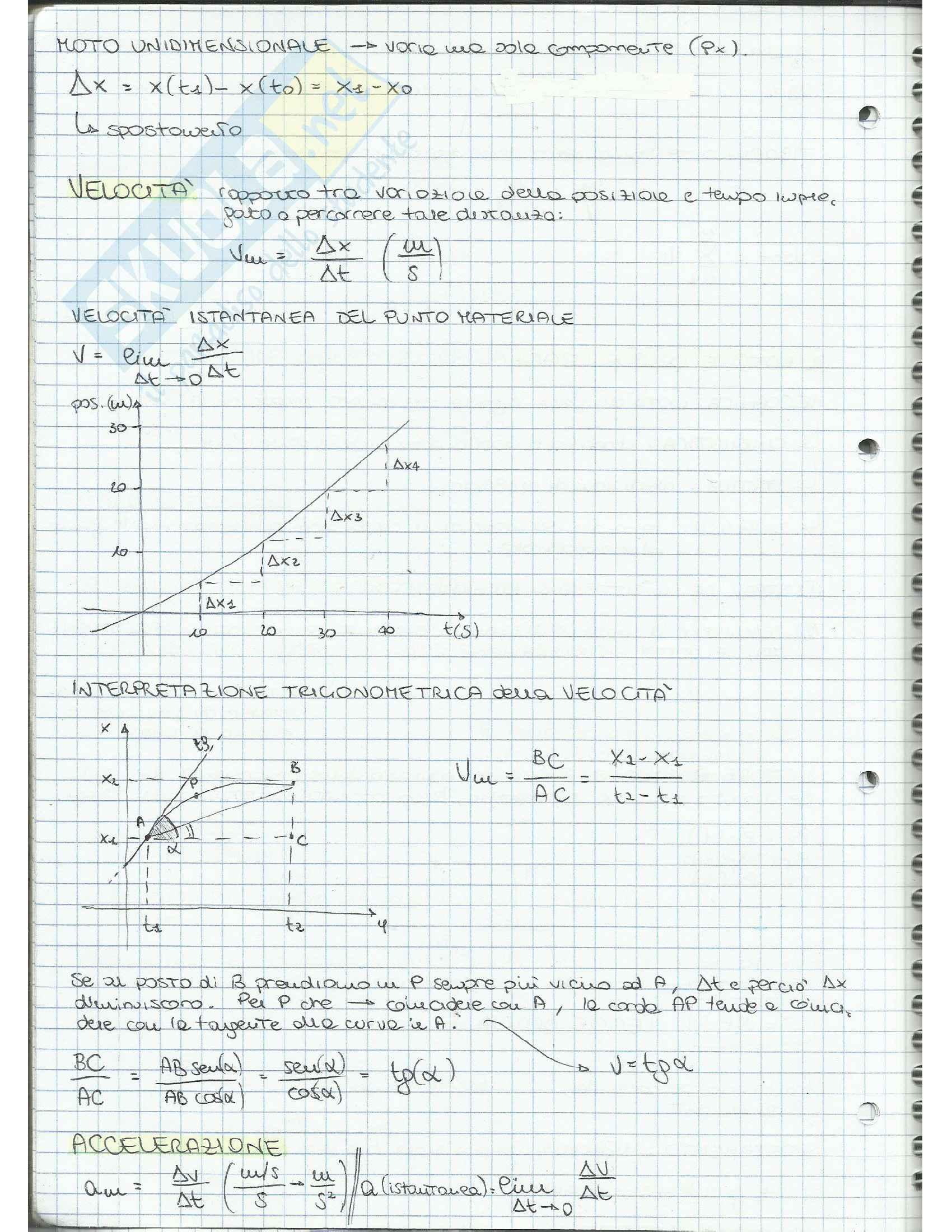 Appunti di Fisica Applicata (cinematica, dinamica, moto circolare, gravitazione, lavoro, quantità di moto, moto rotatorio, equilibrio) Pag. 6