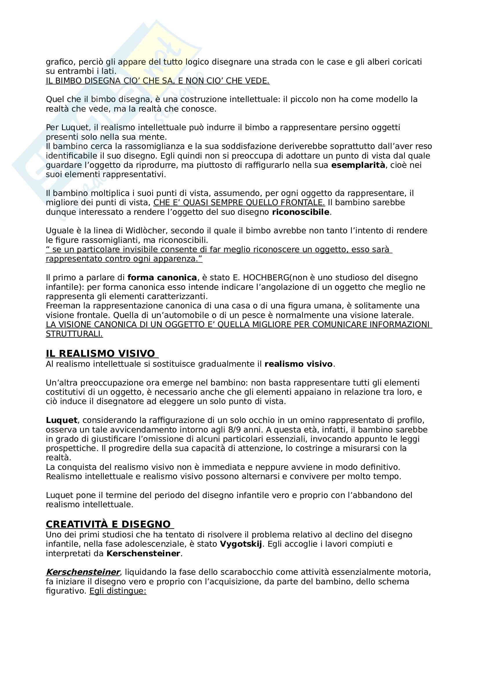 Riassunto esame Psicologia del disegno infantile, docente Negro, libro consigliato Manuale del disegno infantile, vecchie e nuove prospettive, Longobardi, Pasta Pag. 11