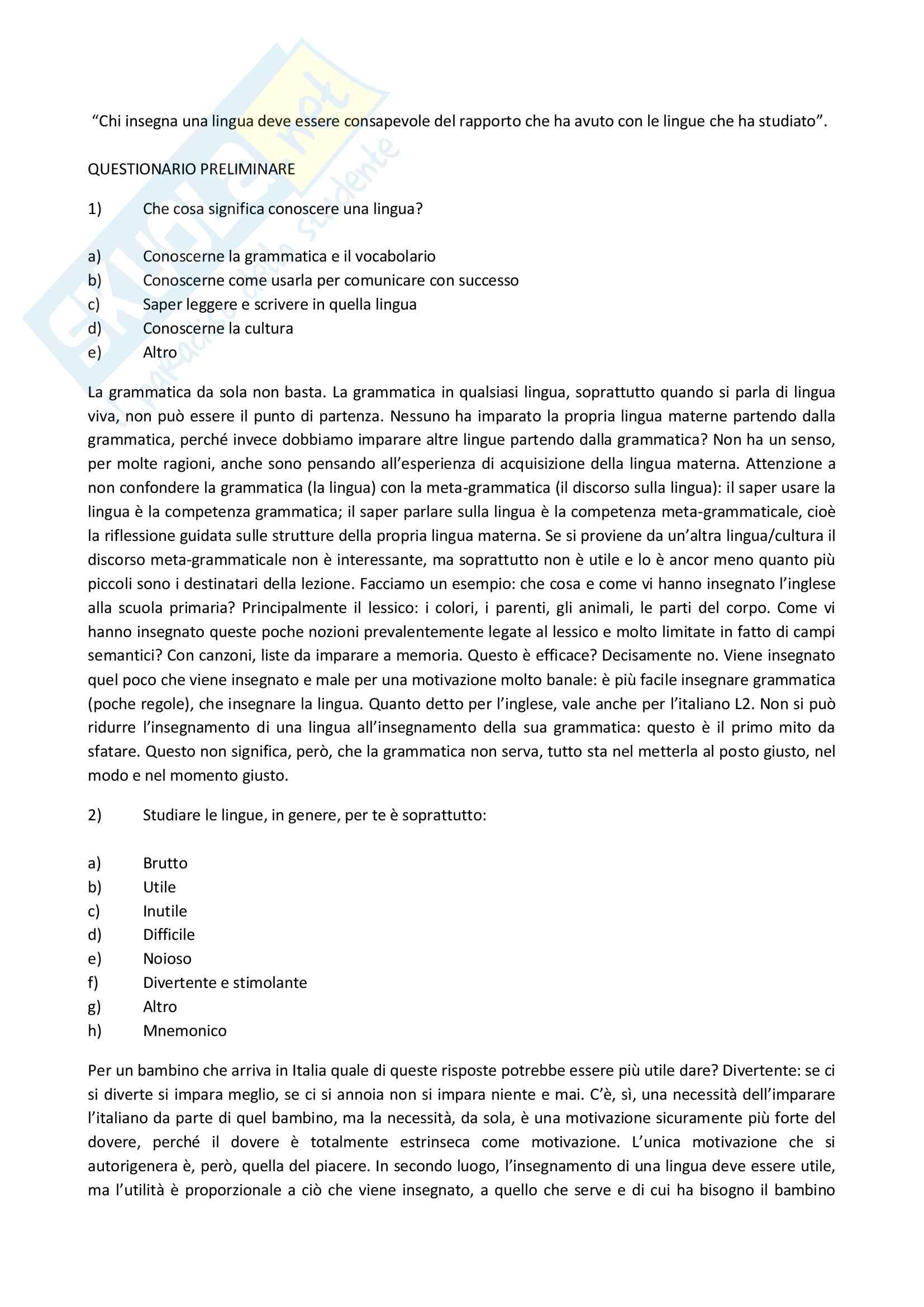 Appunti delle lezioni di Didattica dell'italiano L2 prof Santipolo