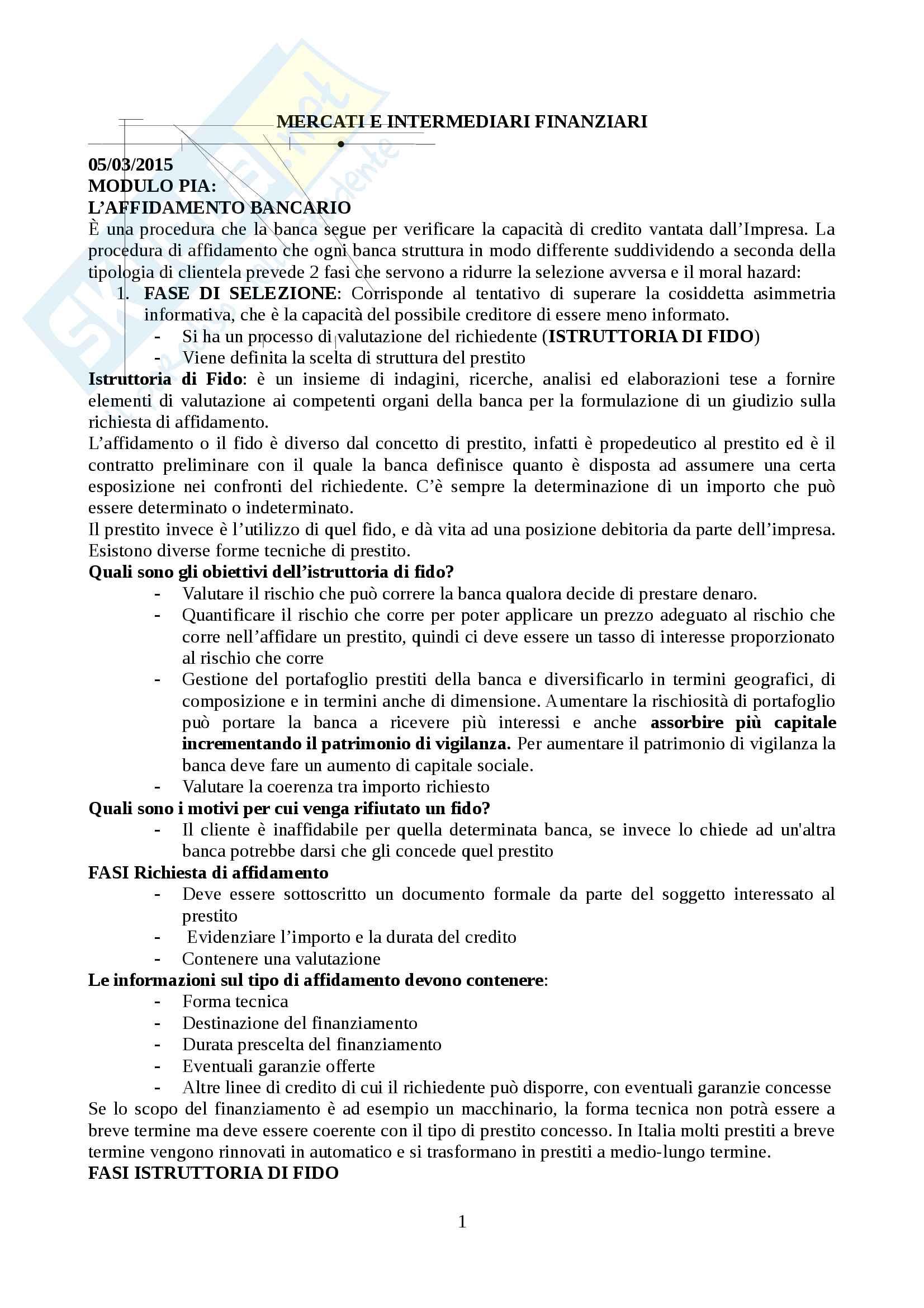 Mercati e Intermediari Finanziari (Modulo Pia)