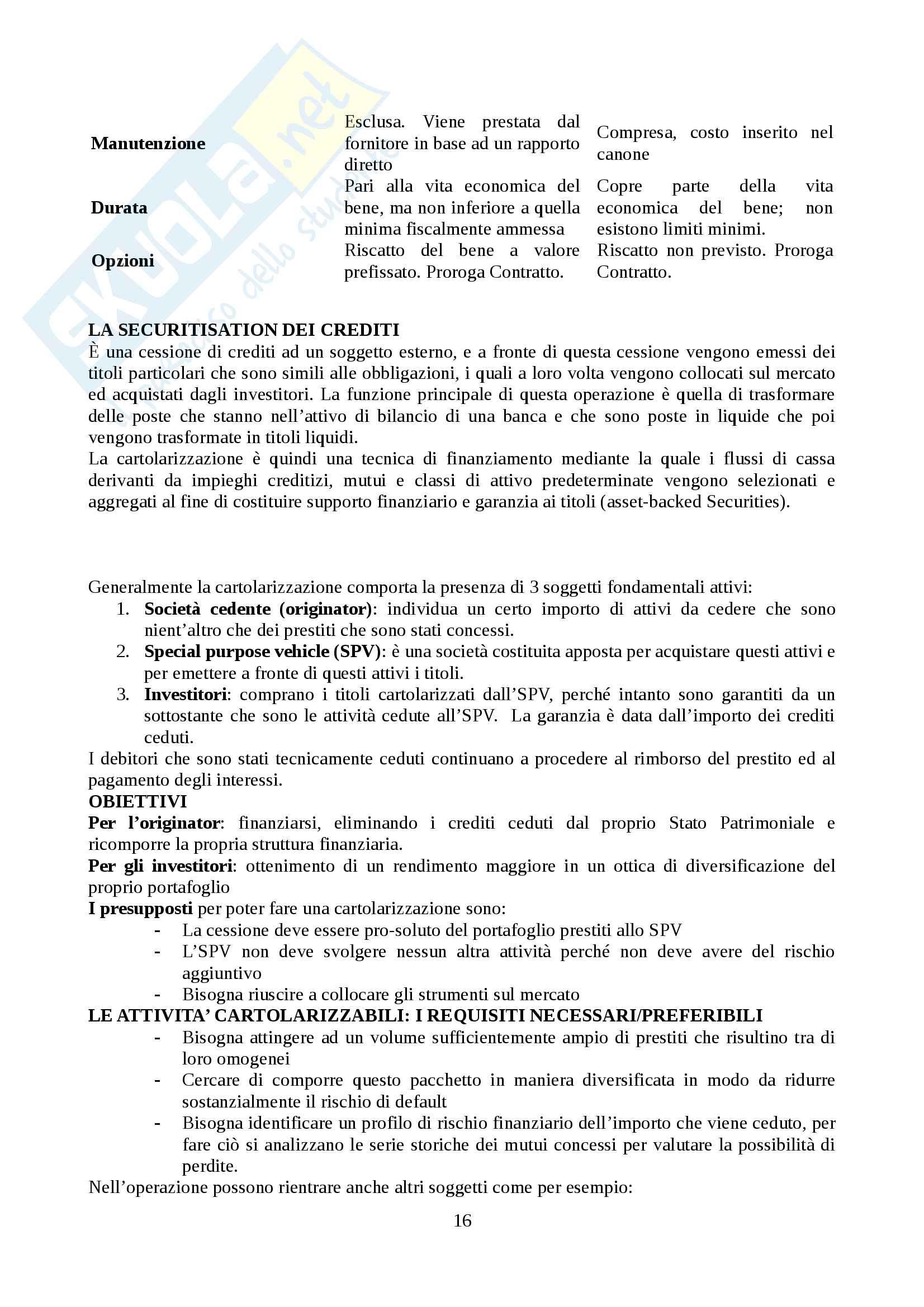 Mercati e Intermediari Finanziari (Modulo Pia) Pag. 16