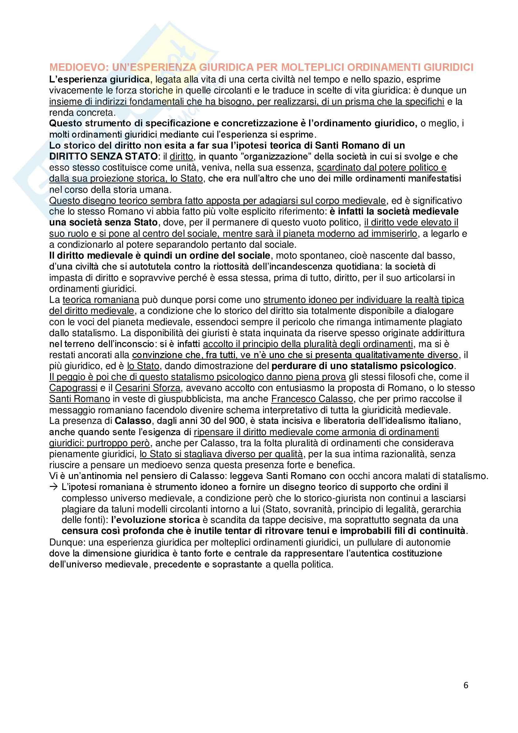 Riassunto esame Storia del Diritto Medievale e Moderno, prof. Rossi, libro consigliato Ordine Giuridico Medievale, Grossi Pag. 6