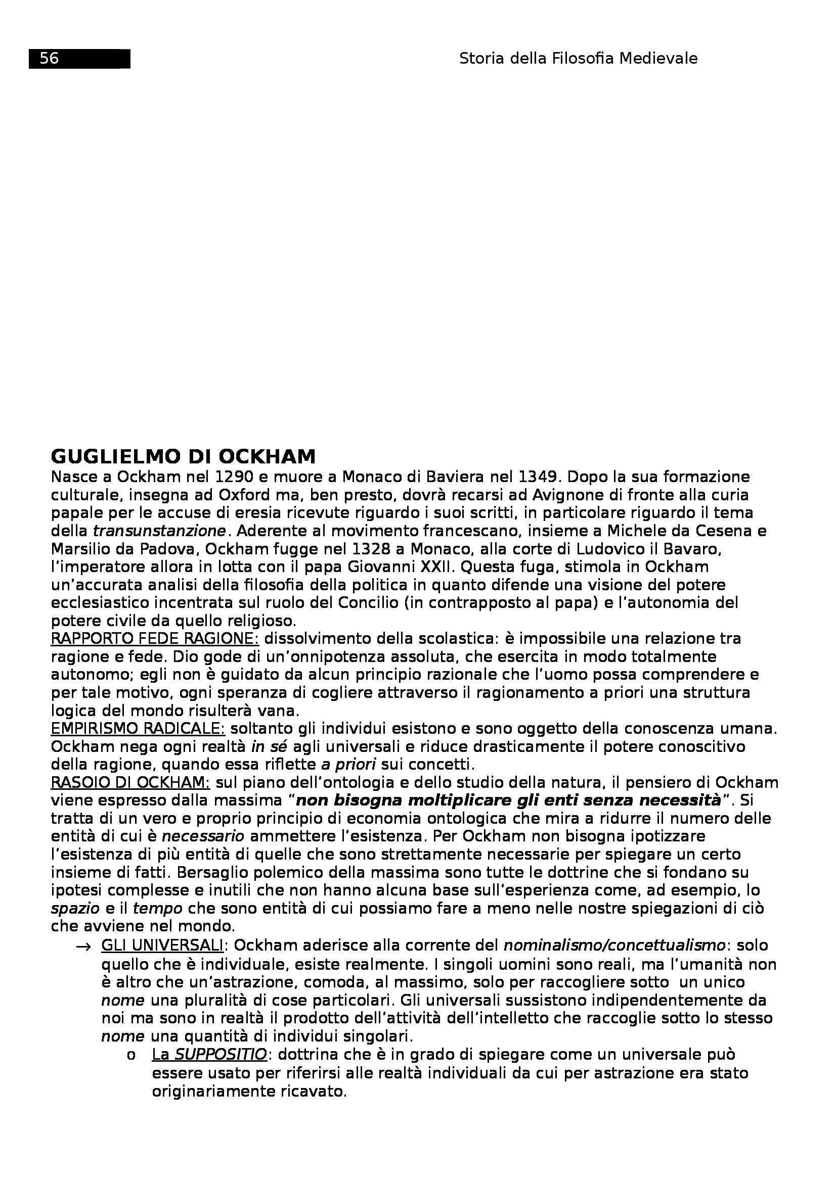 Riassunto esame Storia della filosofia medievale, prof. Sorge Pag. 56