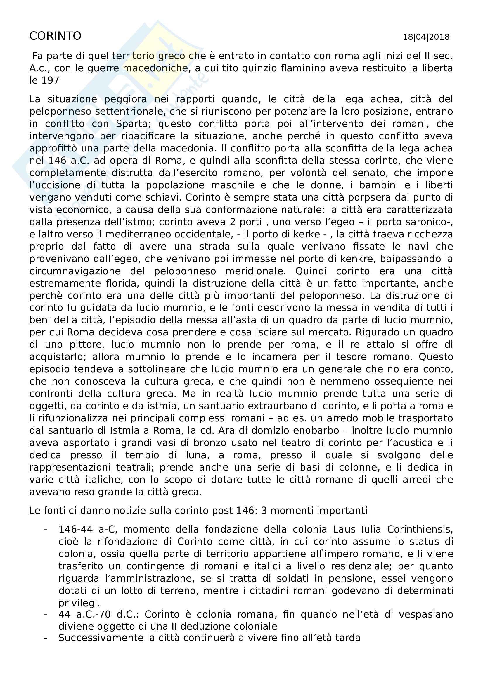 Corinto in età romana - Colonia Laus Iulia Corinthiensis