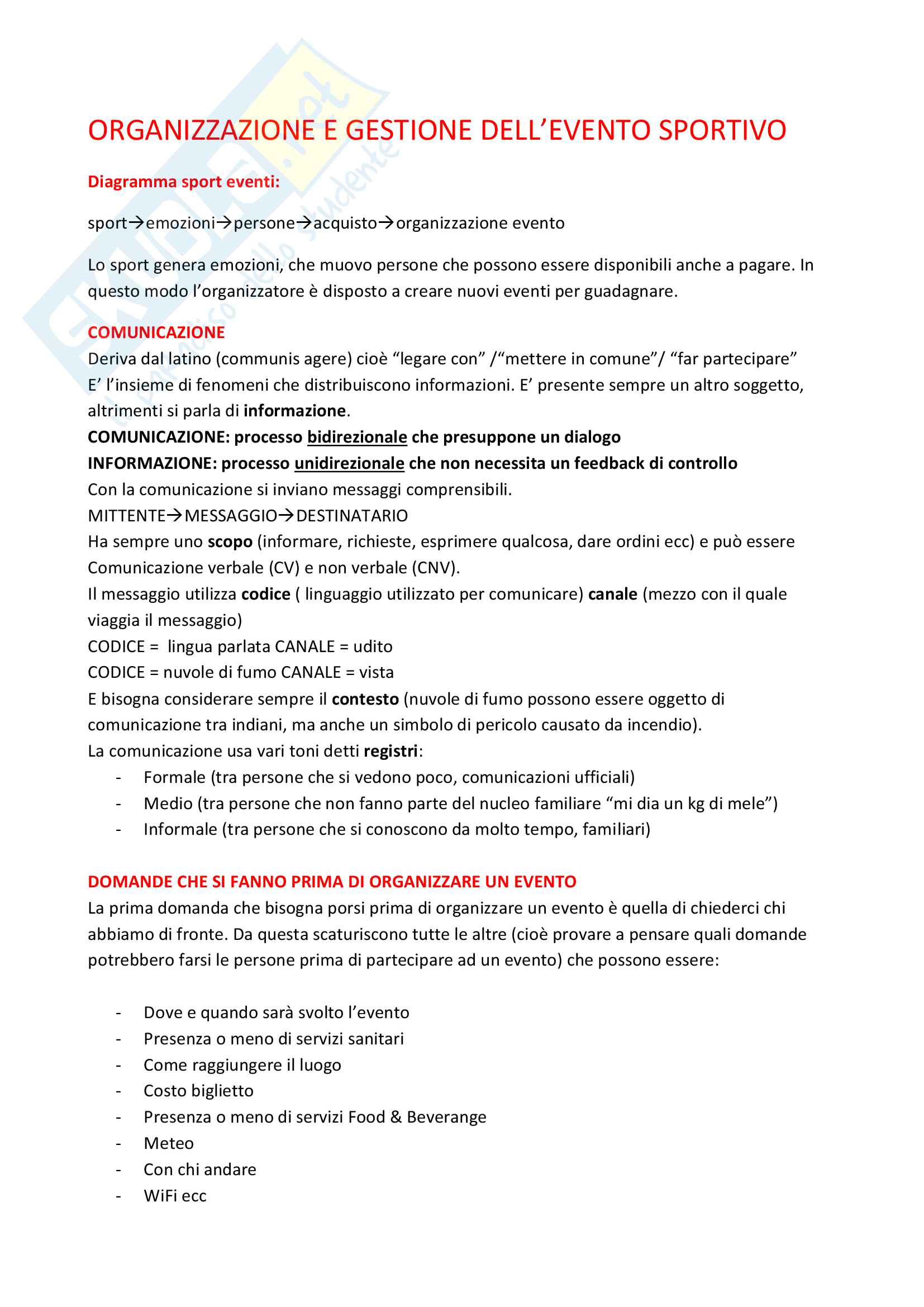 Appunti organizzazione e gestione dell'evento sportivo