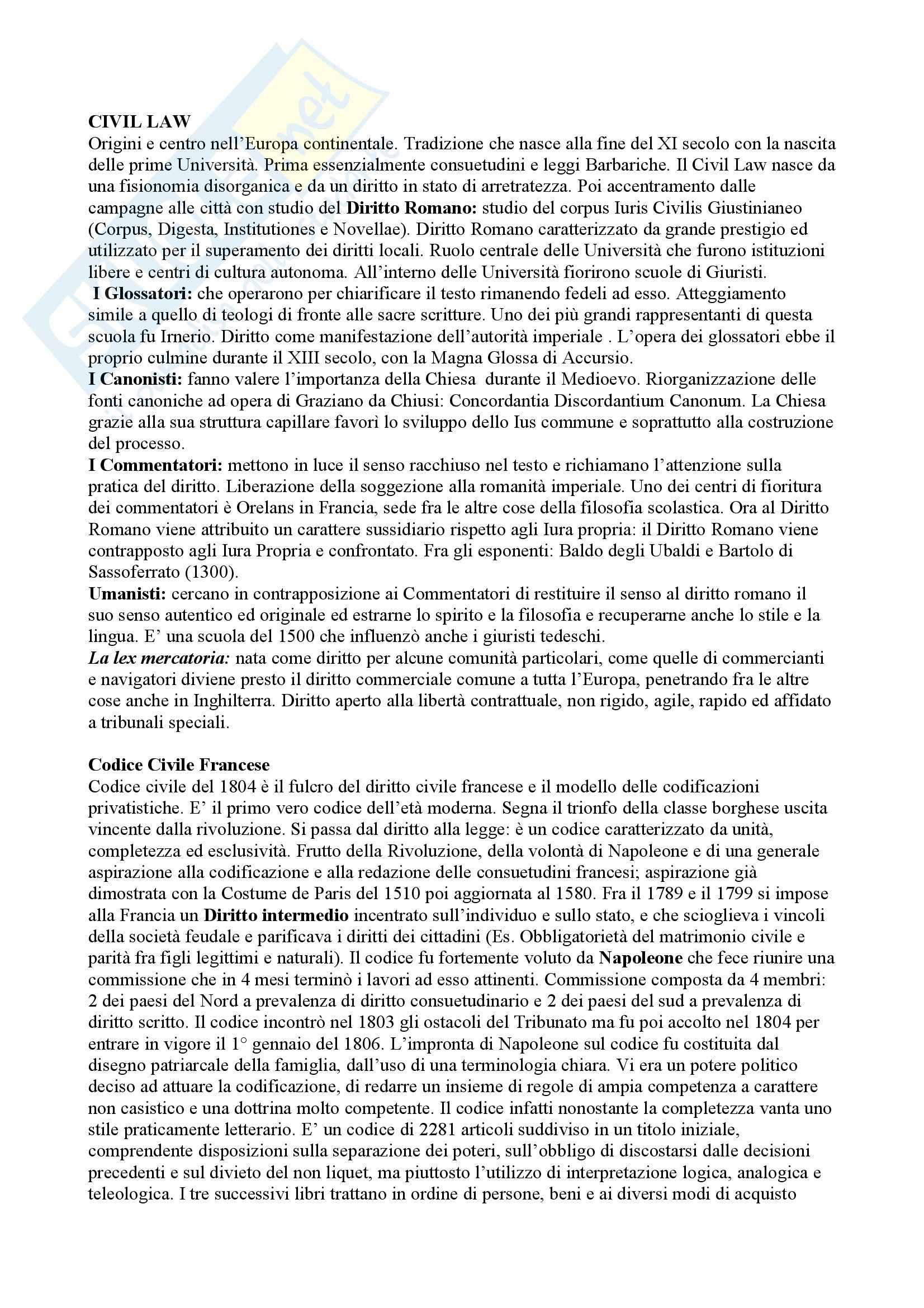 Diritto privato comparato - Civil Law