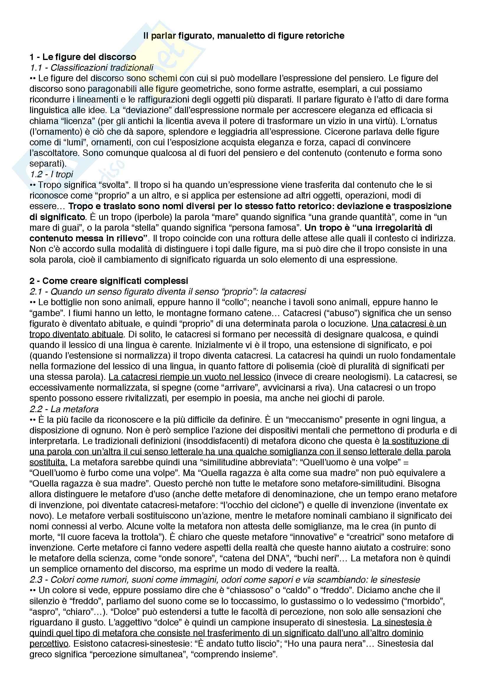 Riassunto esame Linguistica e persuasione, prof.ssa Pompei, libro consigliato Il parlar figurato - manualetto di figure retoriche, Garavelli