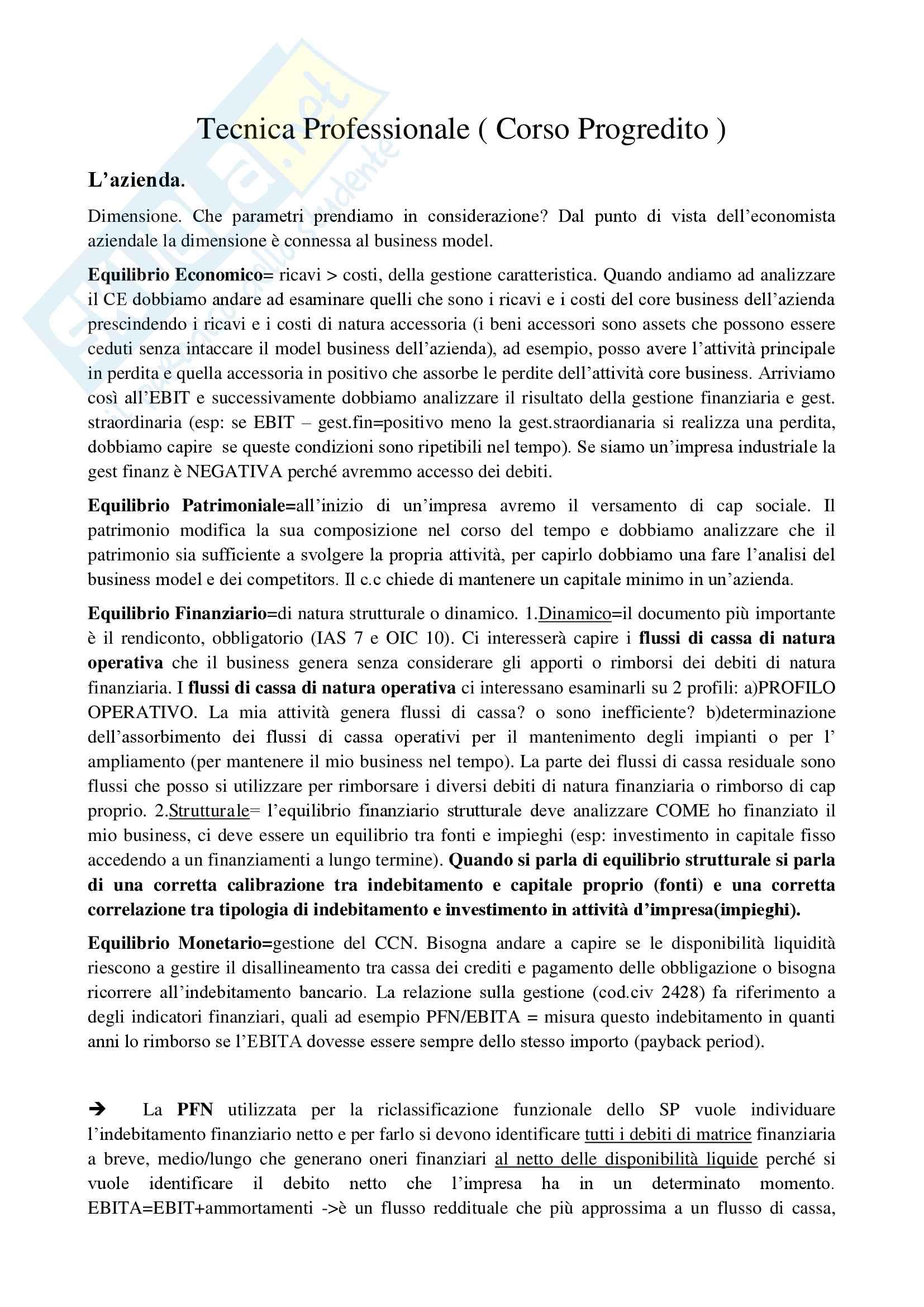 appunto L. Franceschi Tecnica professionale progredito