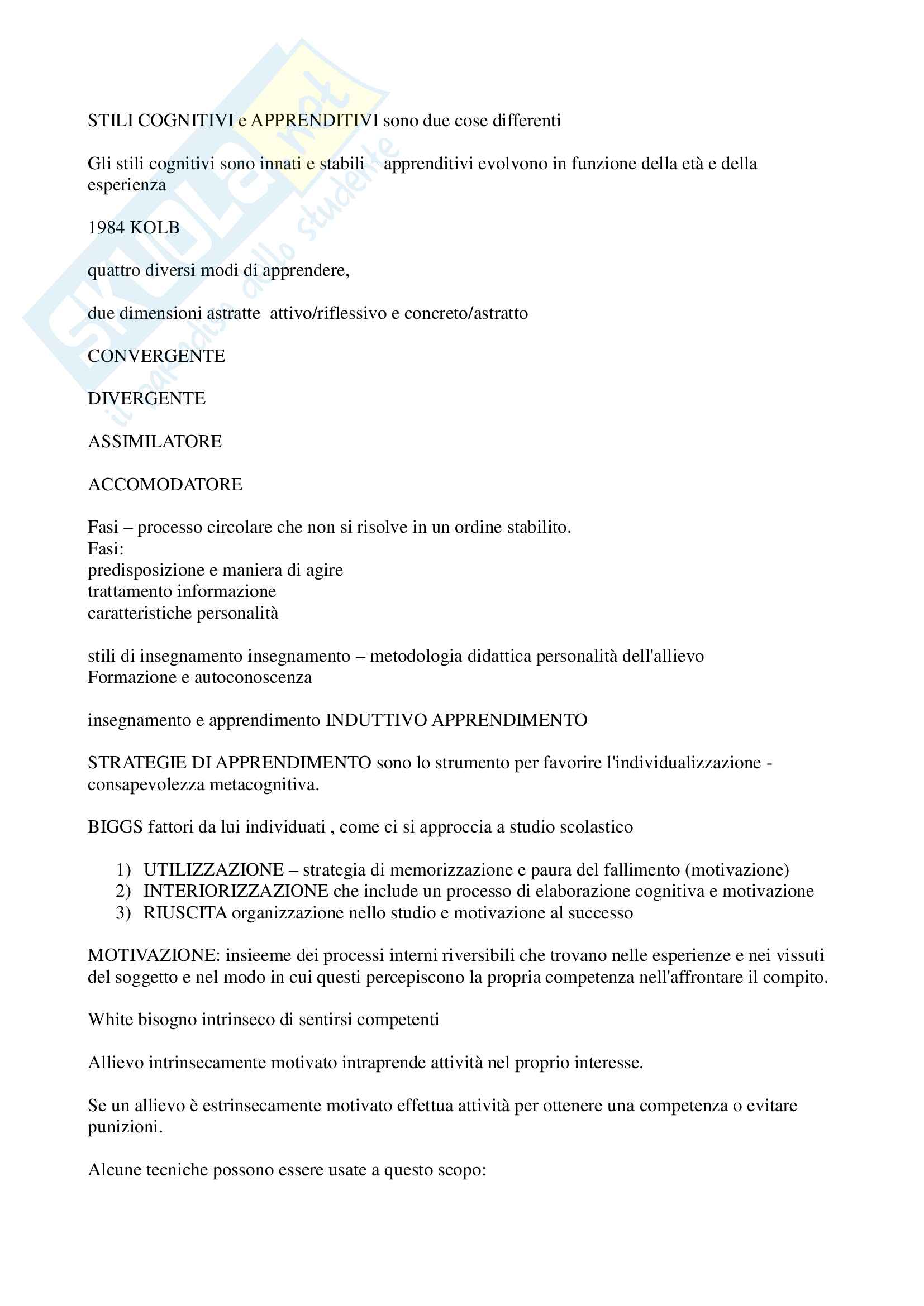 """Riassunto esame """"Pedagogia sperimentale"""", prof. Nuzzaci, libro consigliato """"Insegnare apprendere"""", Nuzzaci Antonella Pag. 16"""