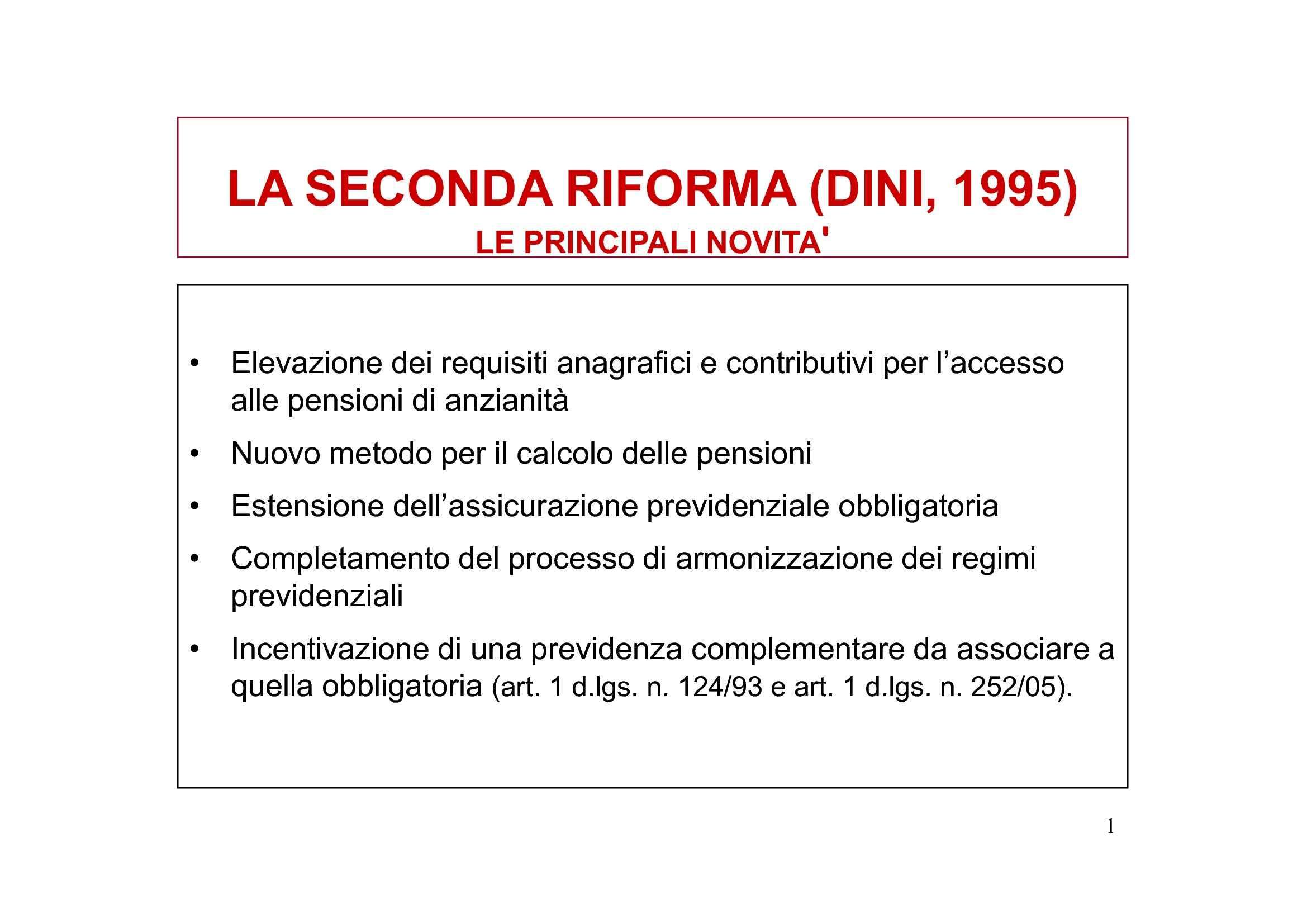 Sistema pensionistico dalla Riforma Dini alla legge 122/2010