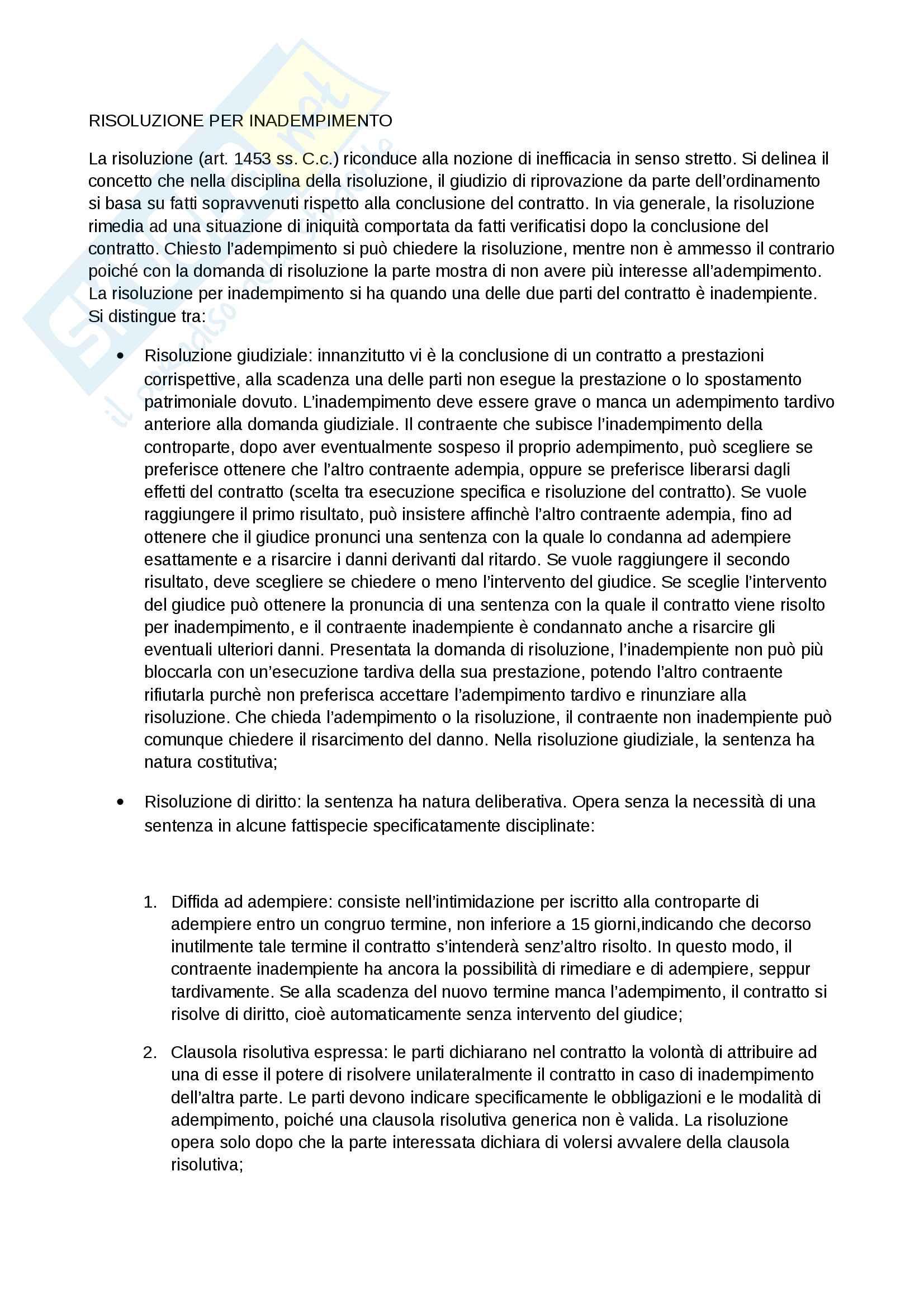 Risoluzione del contratto