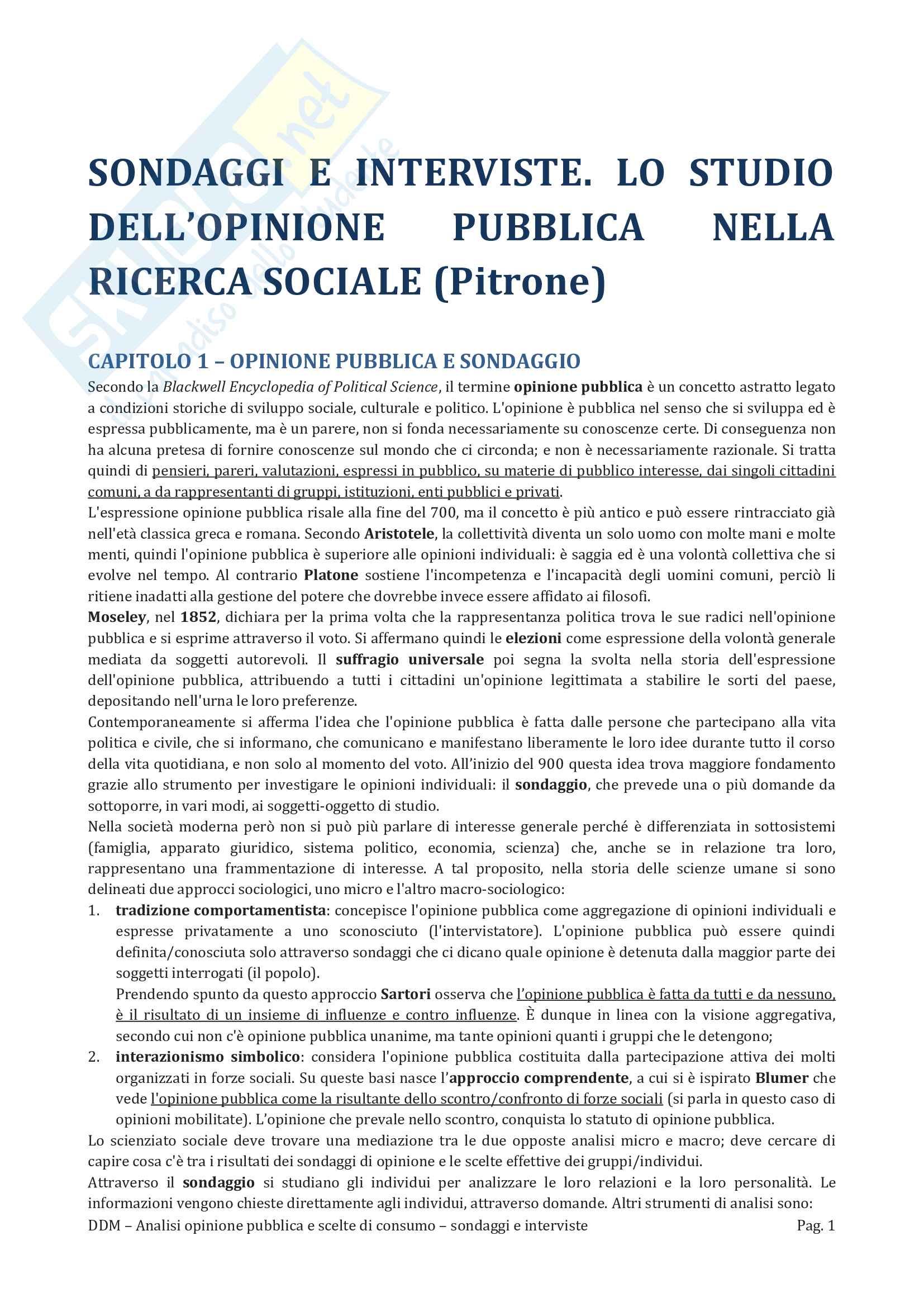 Riassunto Esame Analisi opinione pubblica e scelte di consumo, Prof Martire, libro consigliato Sondaggi e interviste, Pitrone