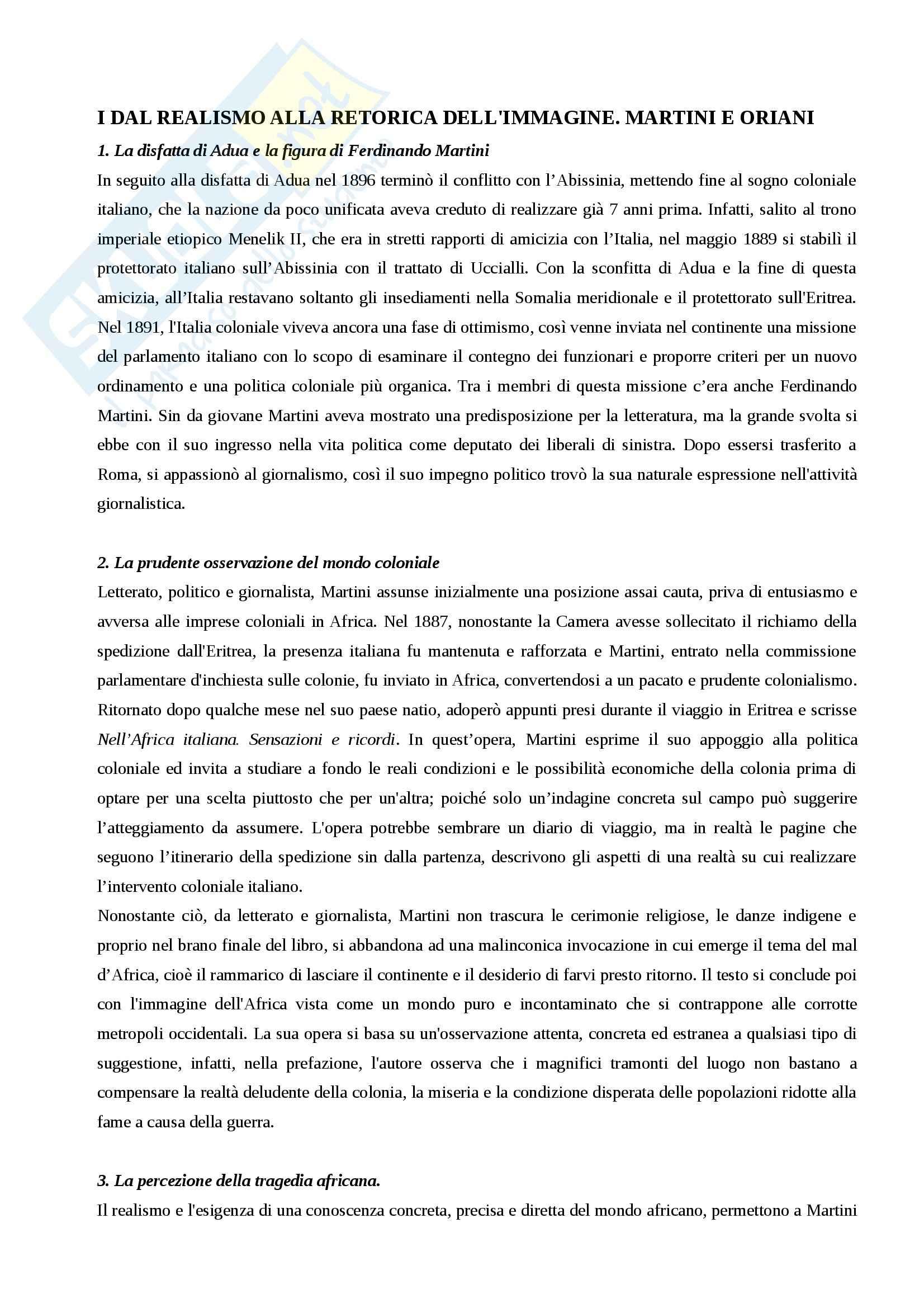 Riassunto esame Letteratura italiana, prof. Tomasello, libro consigliato L'Africa tra mito e realtà