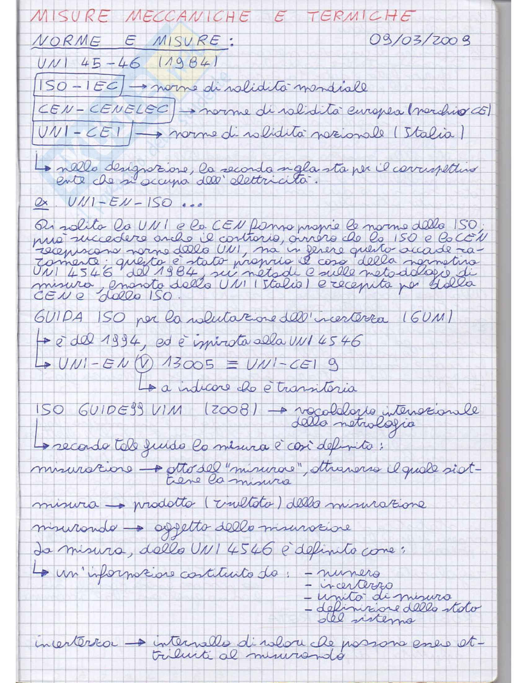 Lezioni, Misure meccaniche e termiche