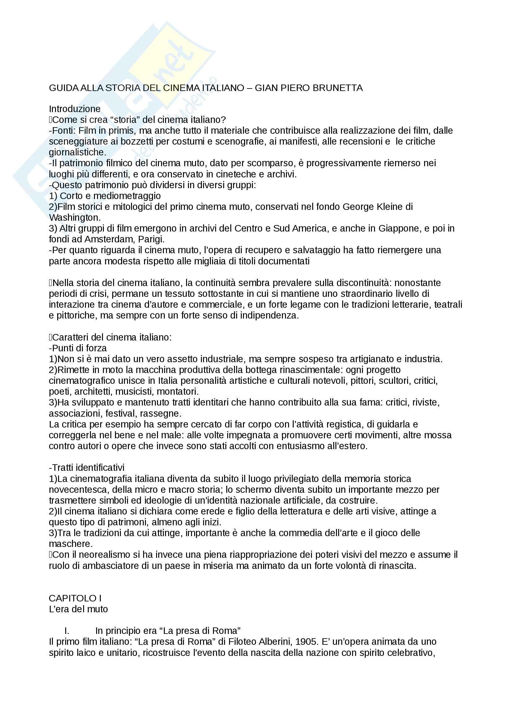 Riassunto esame storia del cinema italiano, prof. Manzoli, libro consigliato Guida alla storia del cinema italiano, 1905-2003, Brunetta