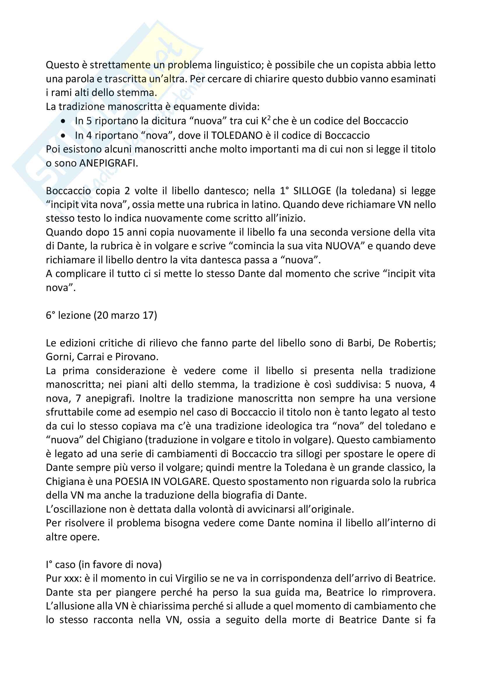 Filologia e critica dantesca: appunti dettagliati Pag. 16