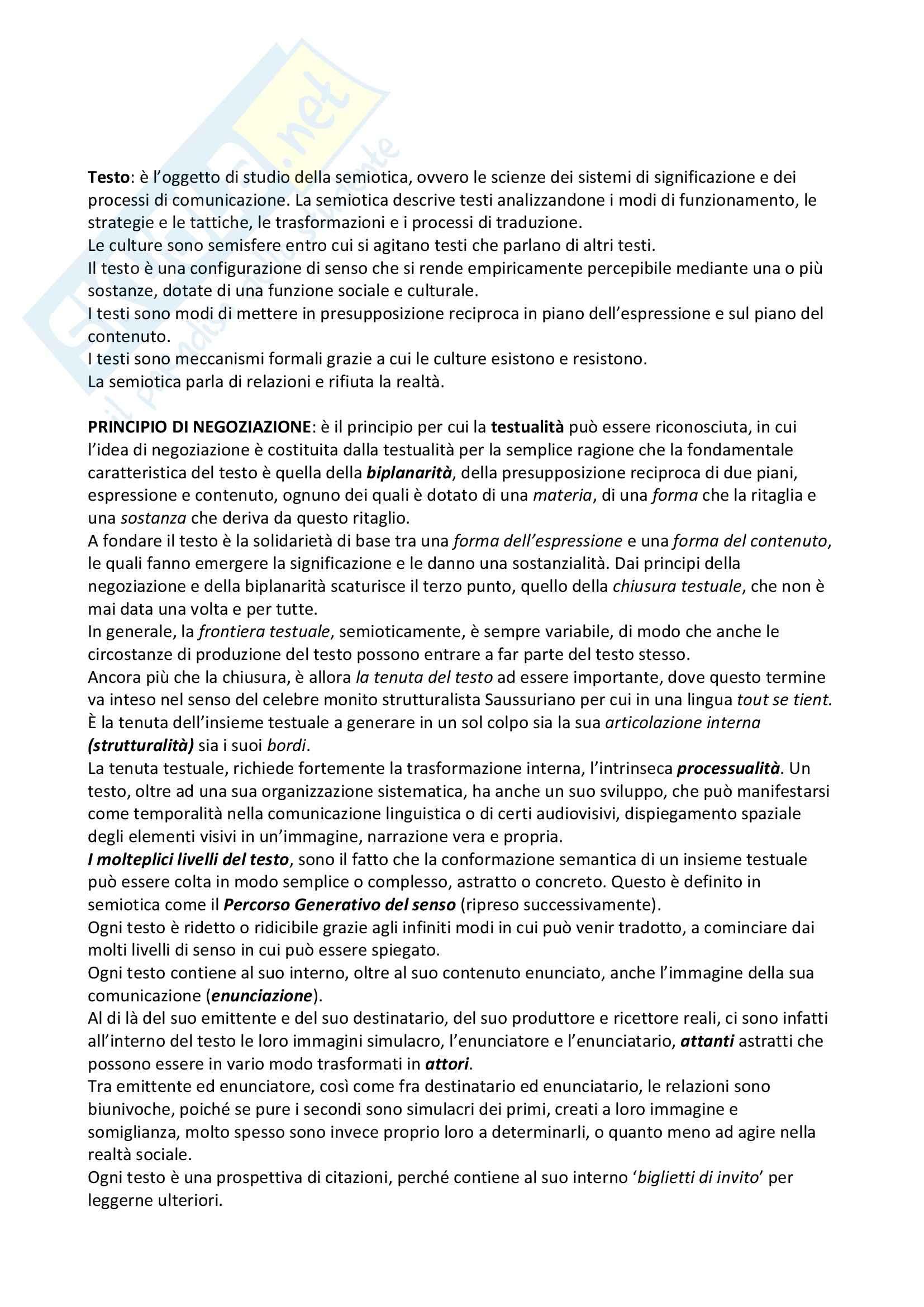 Riassunto esame Semiotica del testo, prof. Bartezzaghi, libro consigliato Introduzione alla semiotica del testo, Marrone
