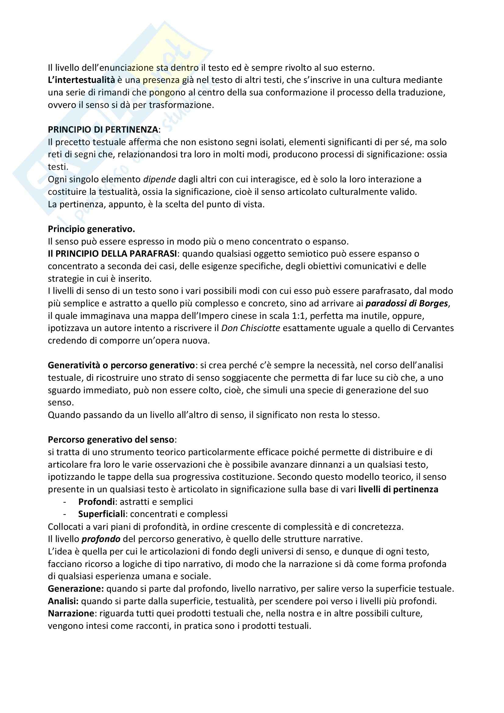 Riassunto esame Semiotica del testo, prof. Bartezzaghi, libro consigliato Introduzione alla semiotica del testo, Marrone Pag. 2