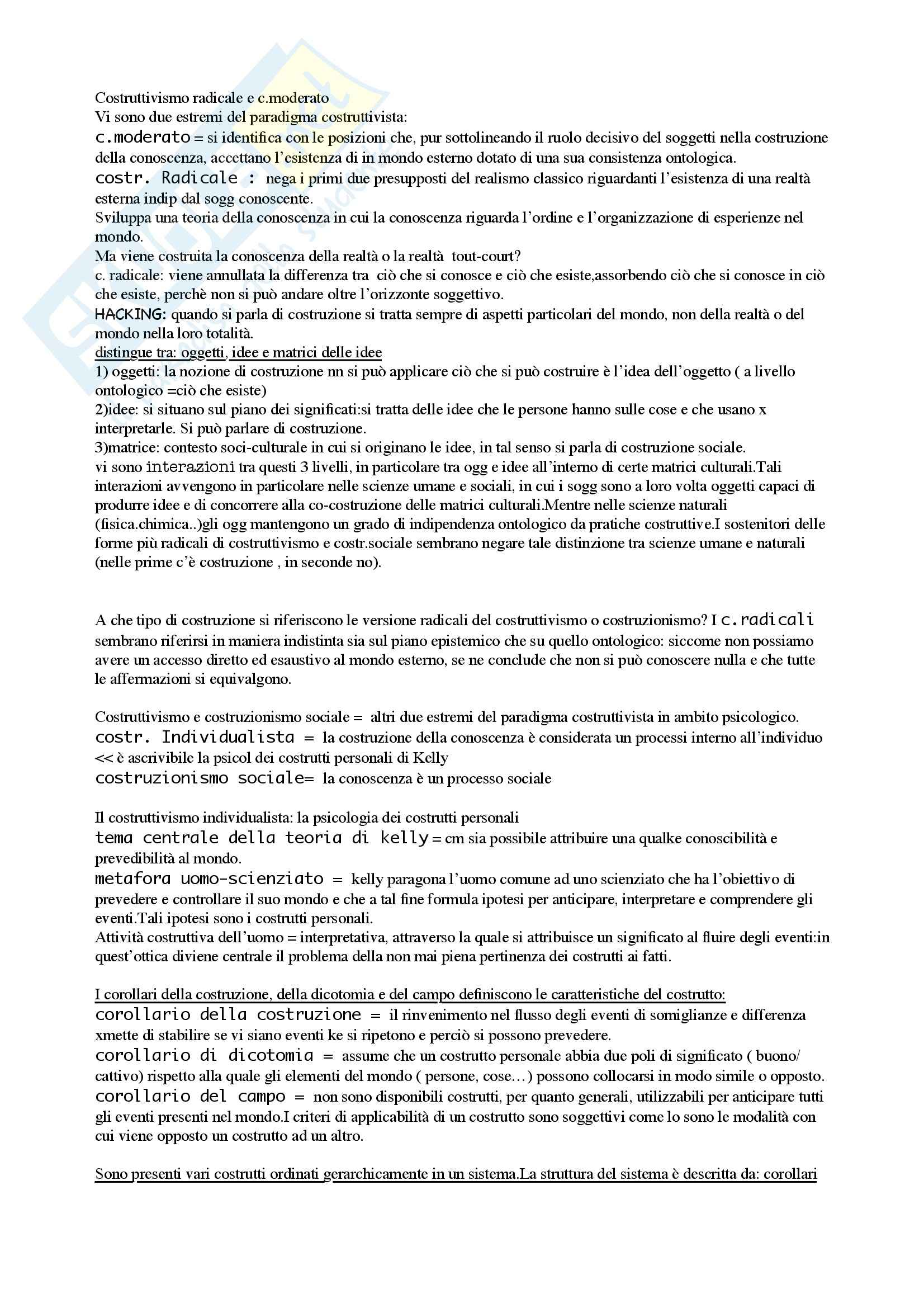 Psicologia clinica - costruttivismi - Appunti Pag. 2