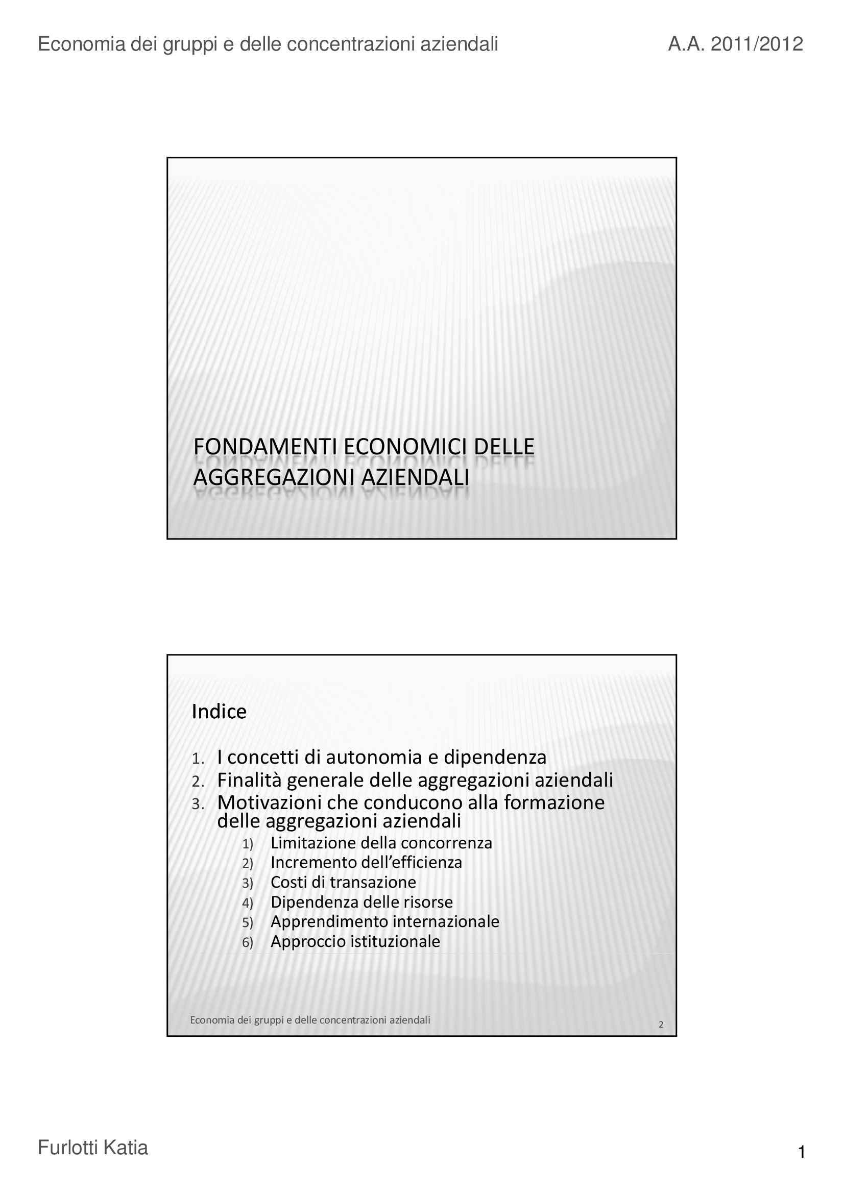 Aggregazioni aziendali - Fondamenti economici