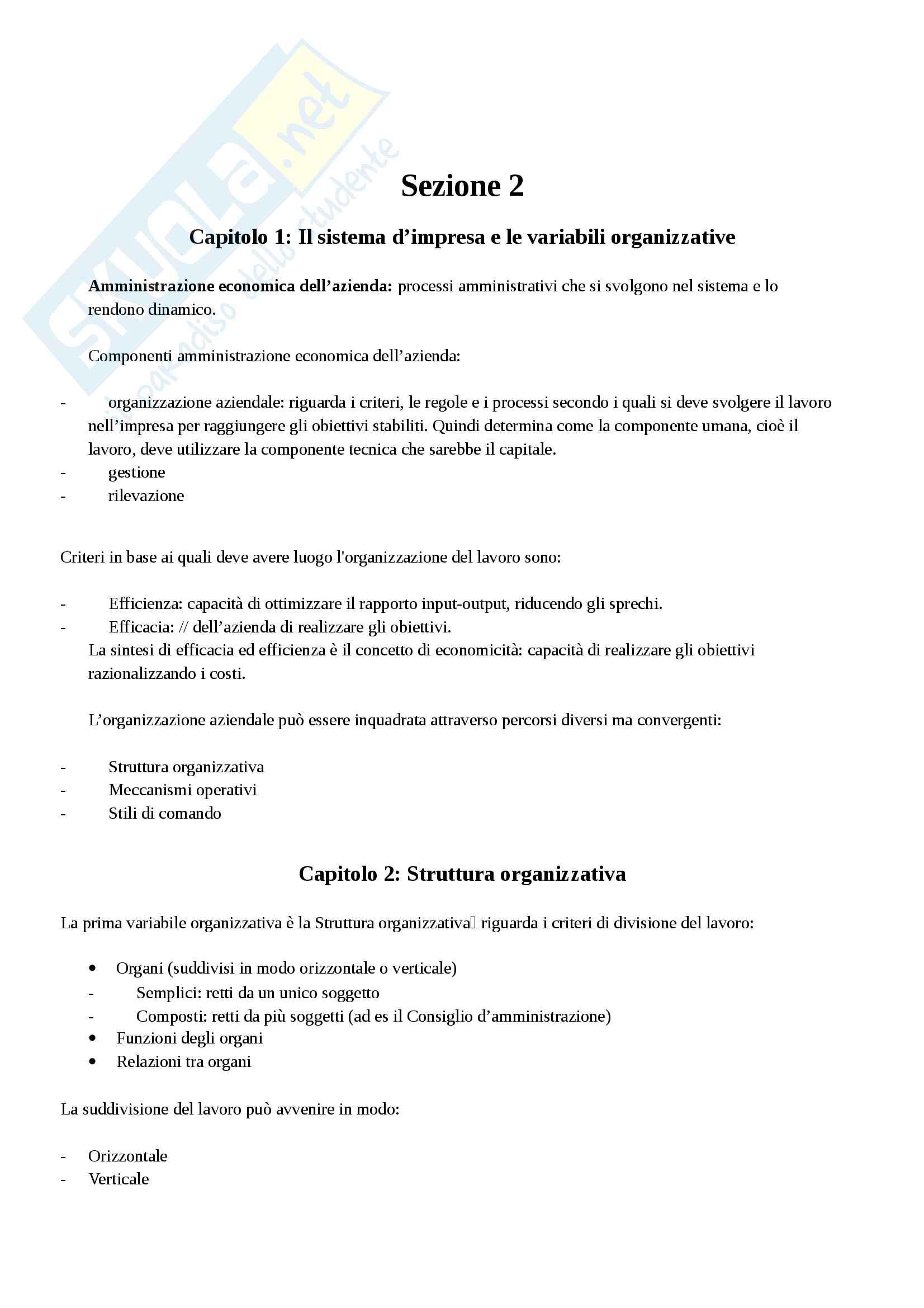 Riassunto esame organizzazione aziendale, prof. Guzzo, libro consigliato Appunti di economia aziendale, Cavalieri Enrico, Ranalli Francesco Pag. 16
