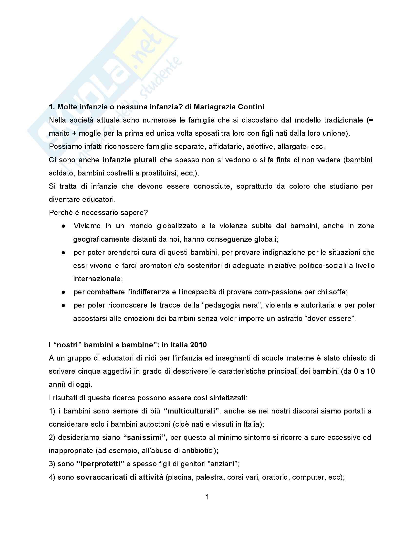 Riassunto esame Pedagogia della Famiglia, prof. Formenti, libro consigliato Molte Infanzie, Molte Famiglie, Contini
